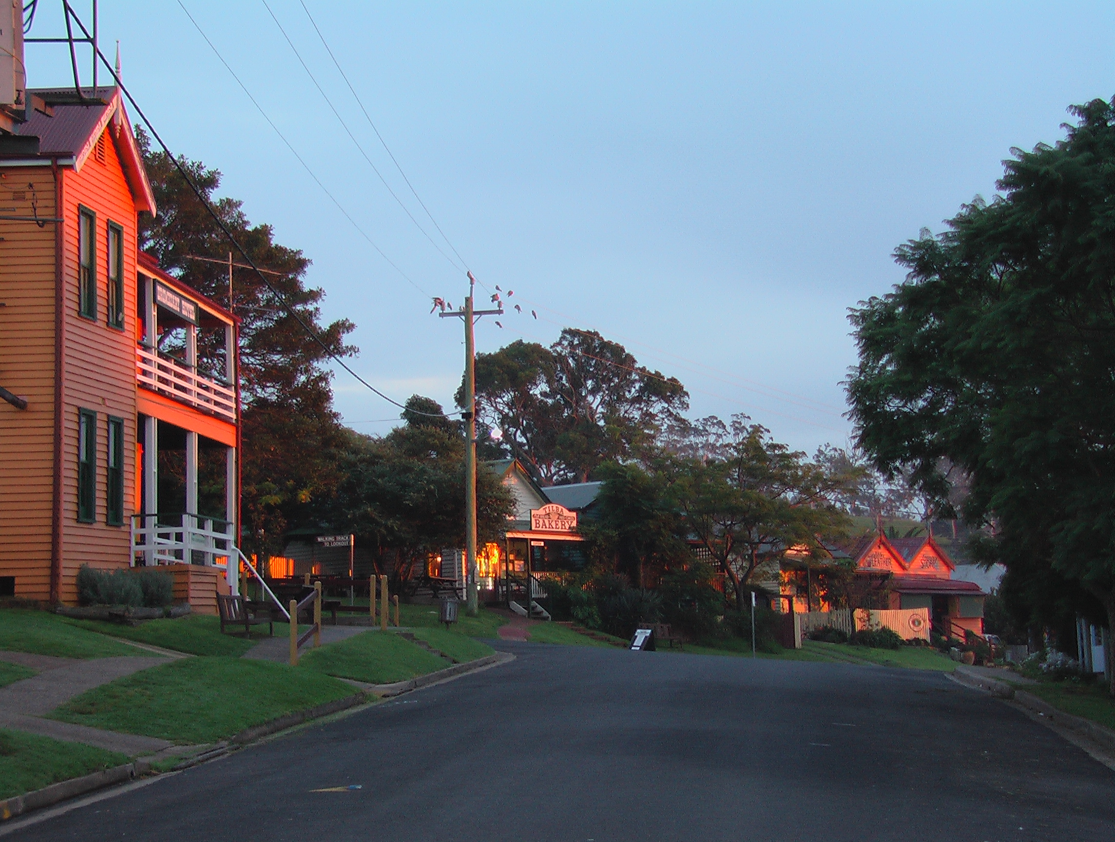 The iconic Dromedary Hotel (foreground) in Central Tilba