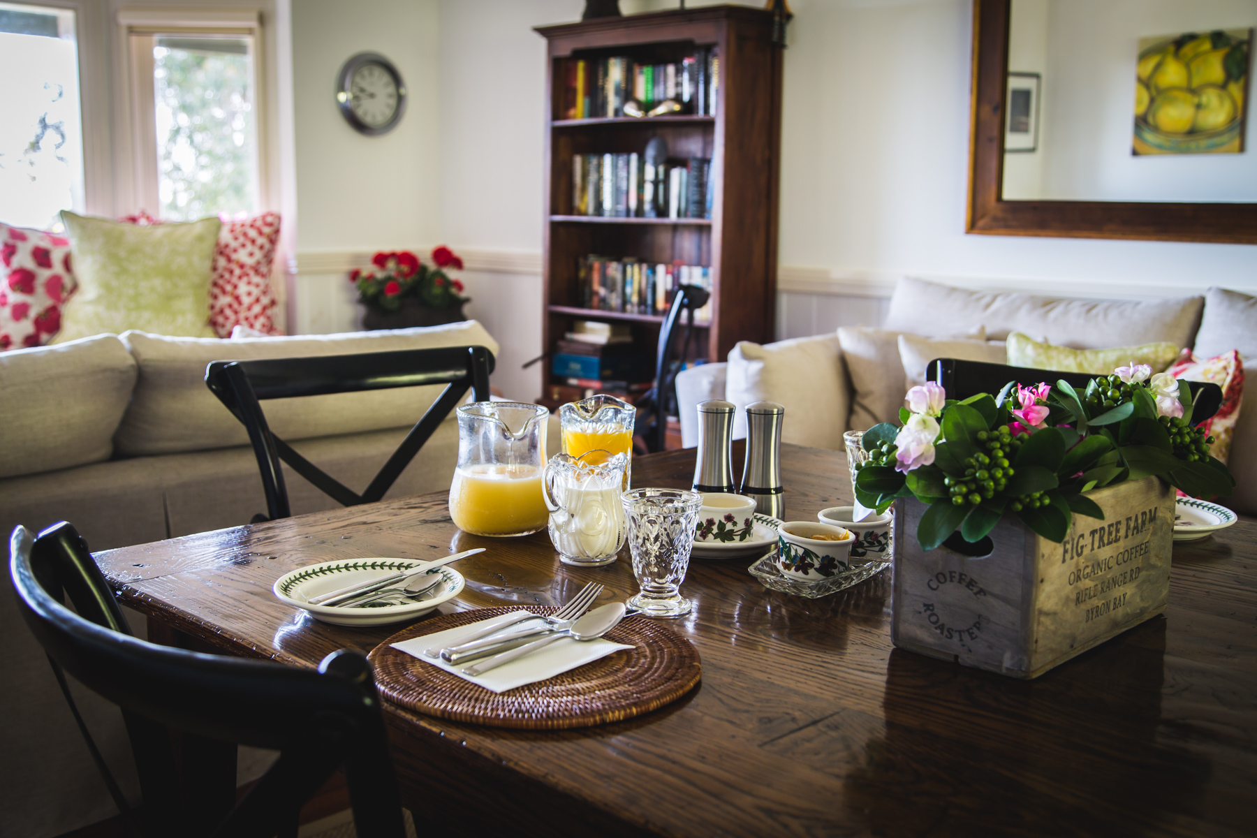 Breakfast in the shared living room