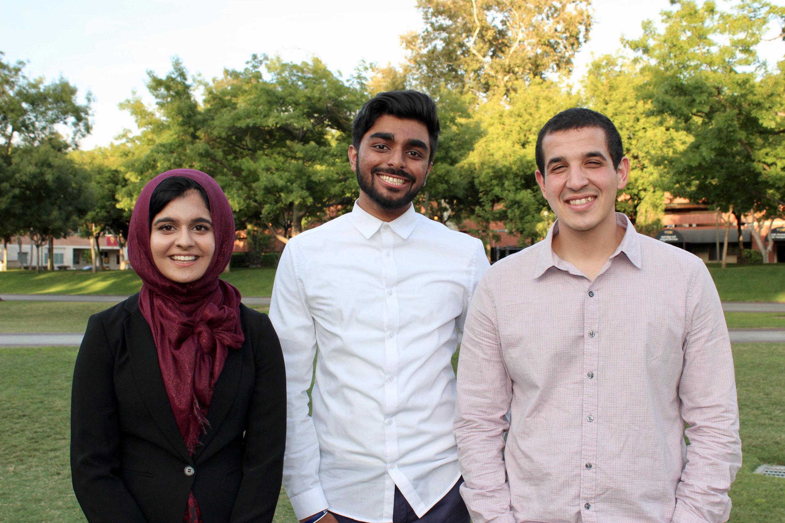 From left to right: Hafsah Lakhany, Zawar Jafri, and Ahmed Abdelgany.