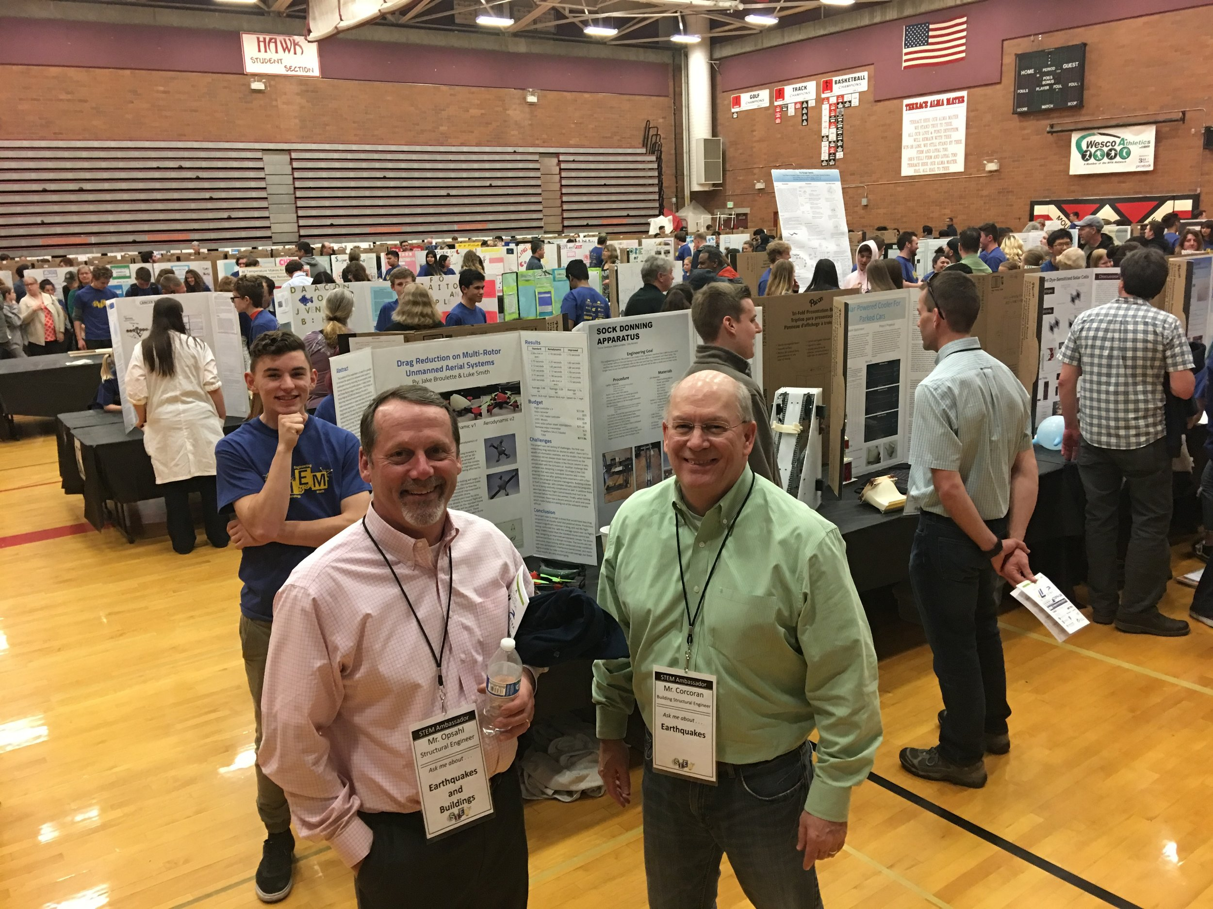 SEAW Outreach Committee members, Pete Opsahl and Tom Corcoran, take a quick break for a photo.