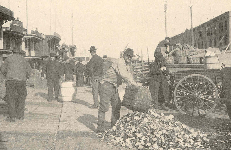 Early oyster markets in New York City.