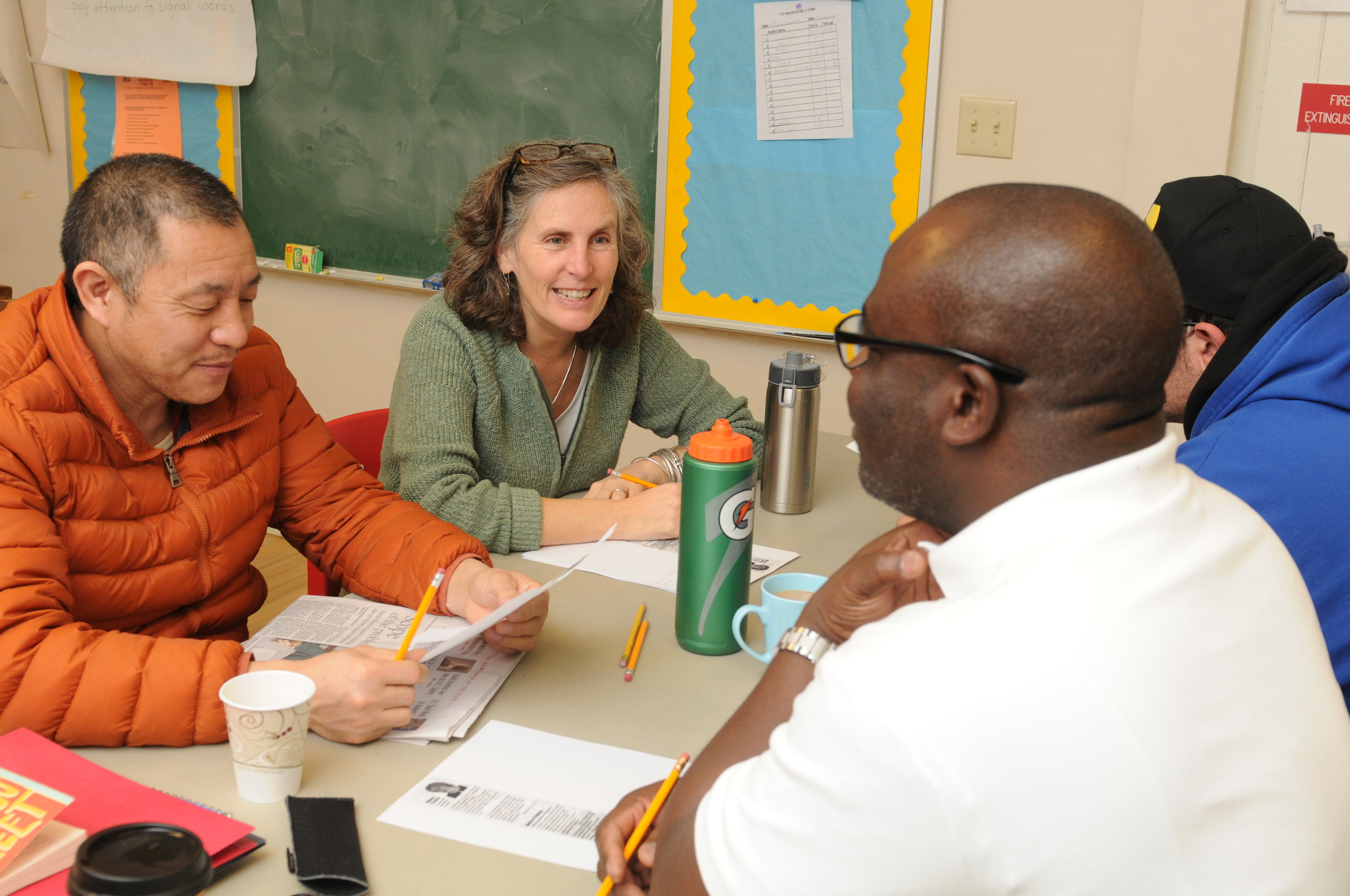 TLP-Amherst Instructor Eileen Barry with students.  Photo by Frank Ward.
