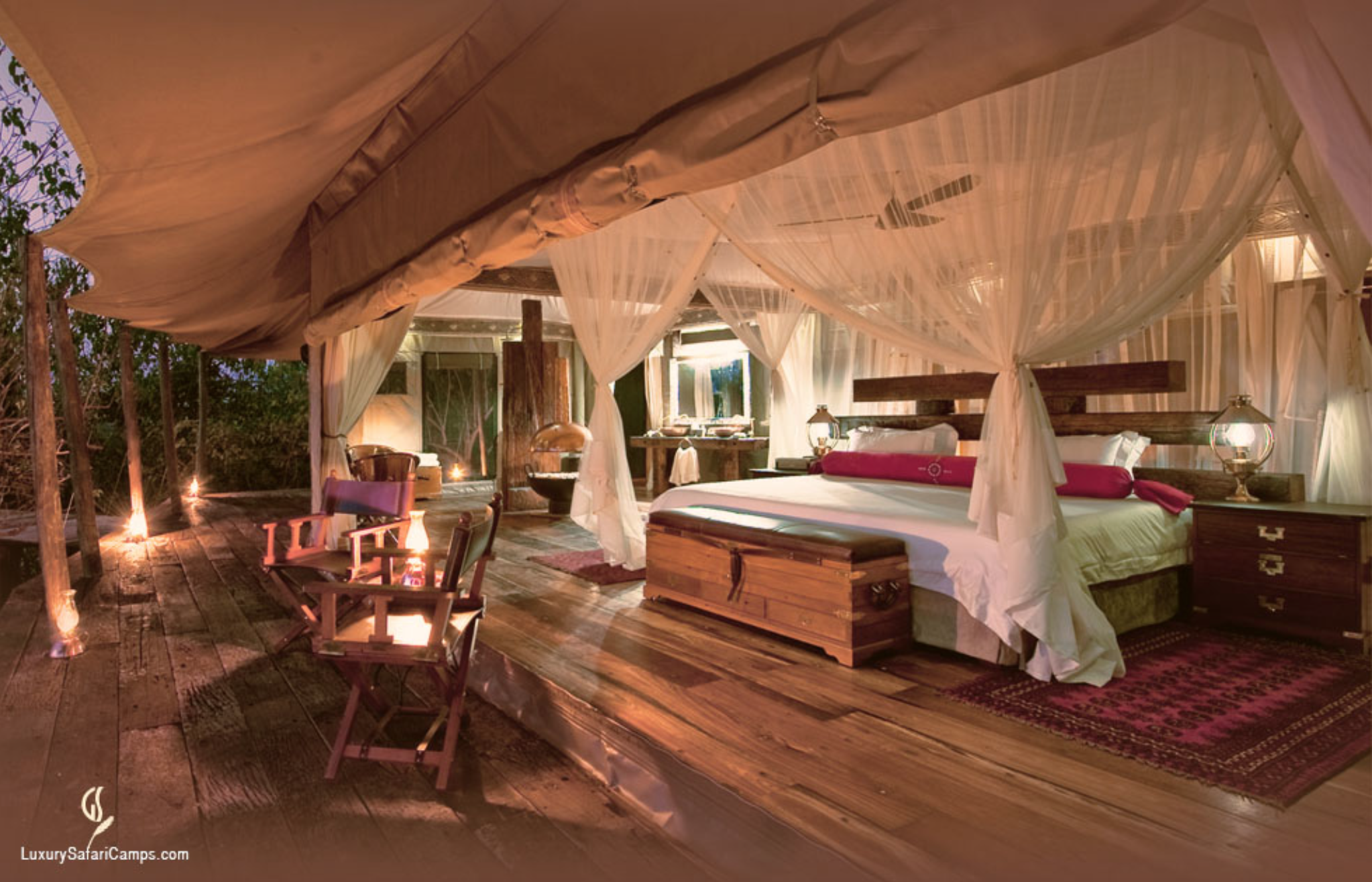 ZARAFA CAMP   Selinda Private Concession, Botswana  - With only four tented campaign-style suites, this intimate camp amongst big game is reminiscent of Hemingway's journeys to Africa. Stunning in decor and awe-inspiring in setting, it was developed by National Geographic film makers Dereck and Beverly Joubert.
