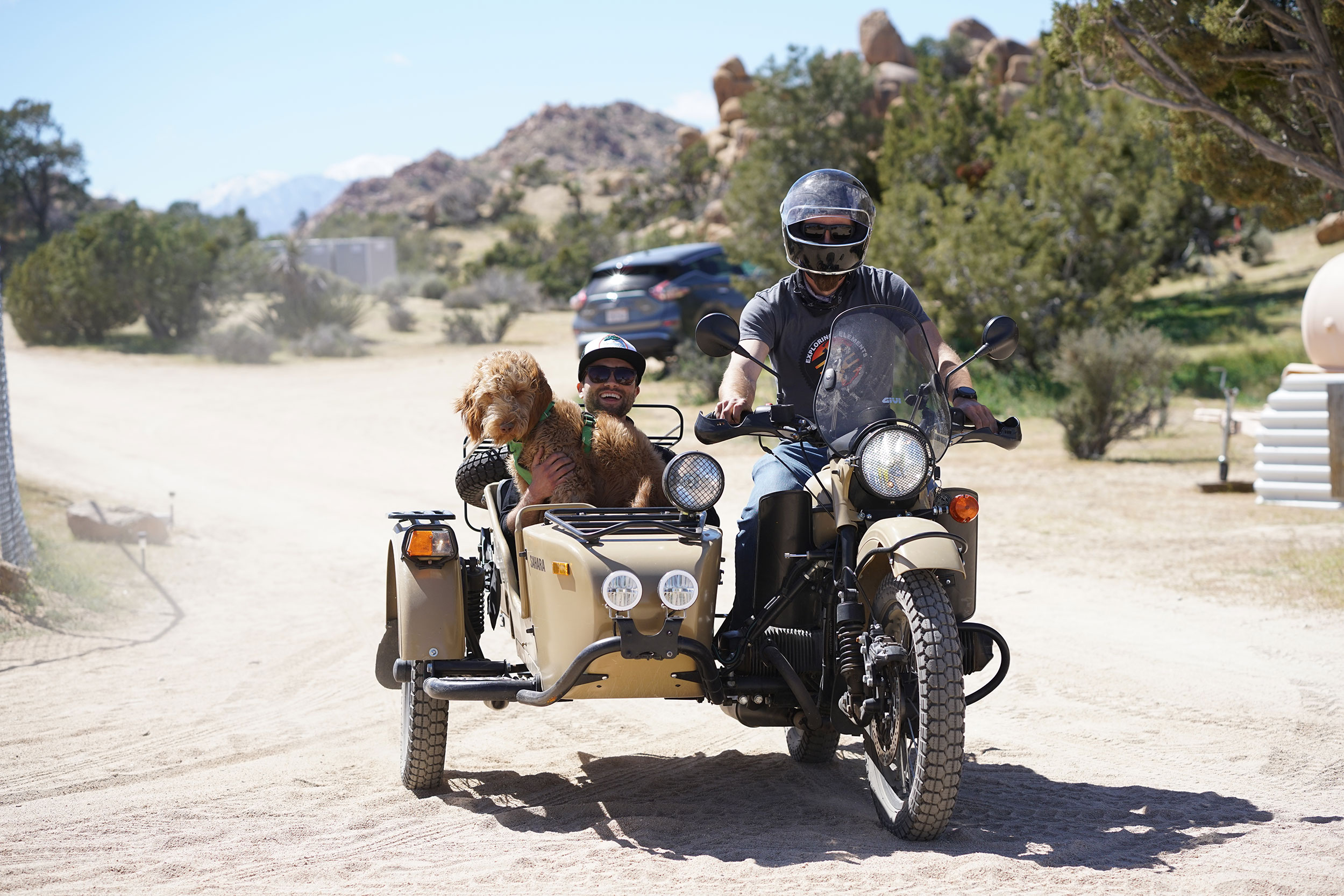 @spillynik of  Ninkasi Brewery , his sidekick Oso, and  @explorelements on our  Gear Up Sahara  exploring the grounds.