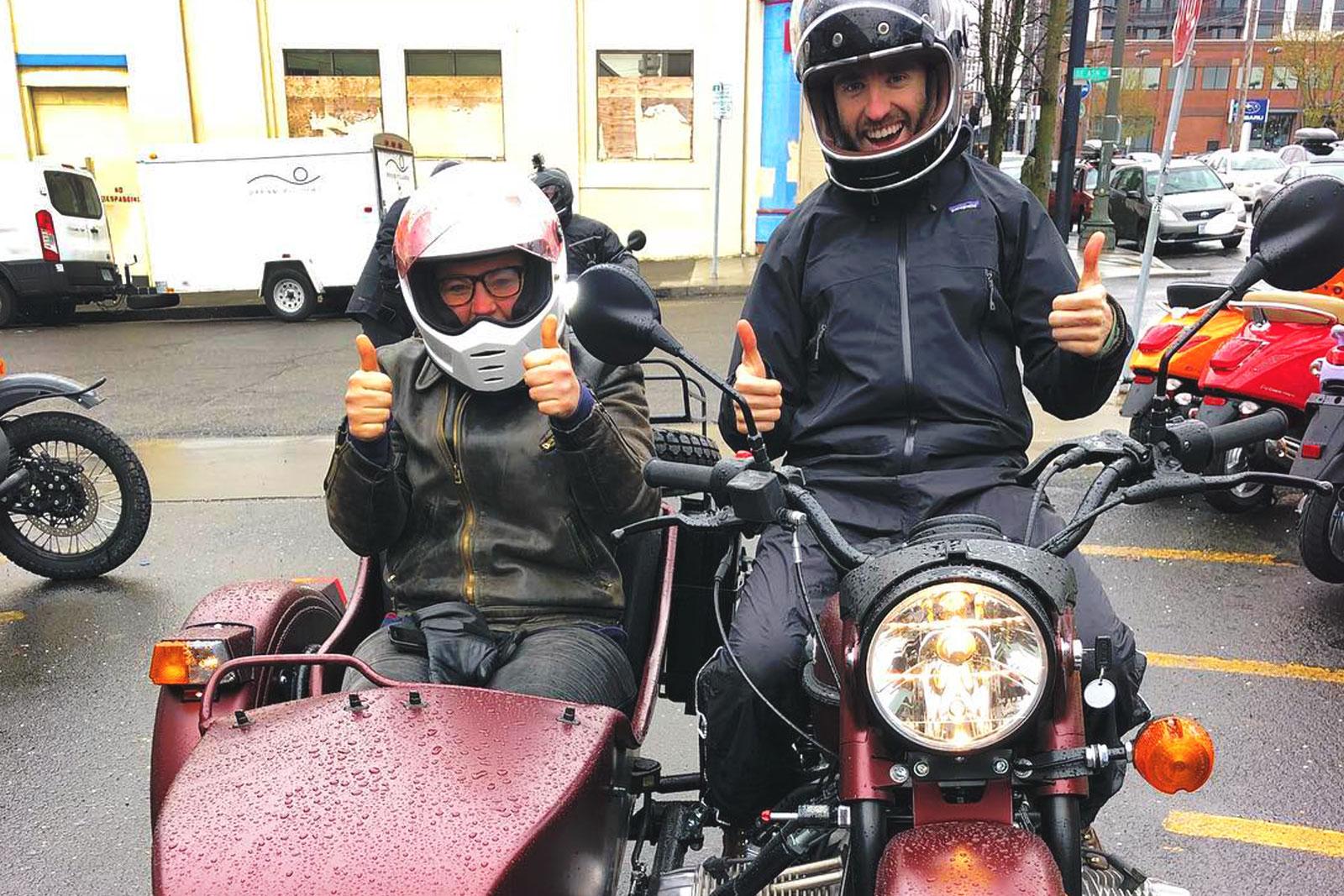 """RAIN or Shine"" test riders at  Ural Portland ."