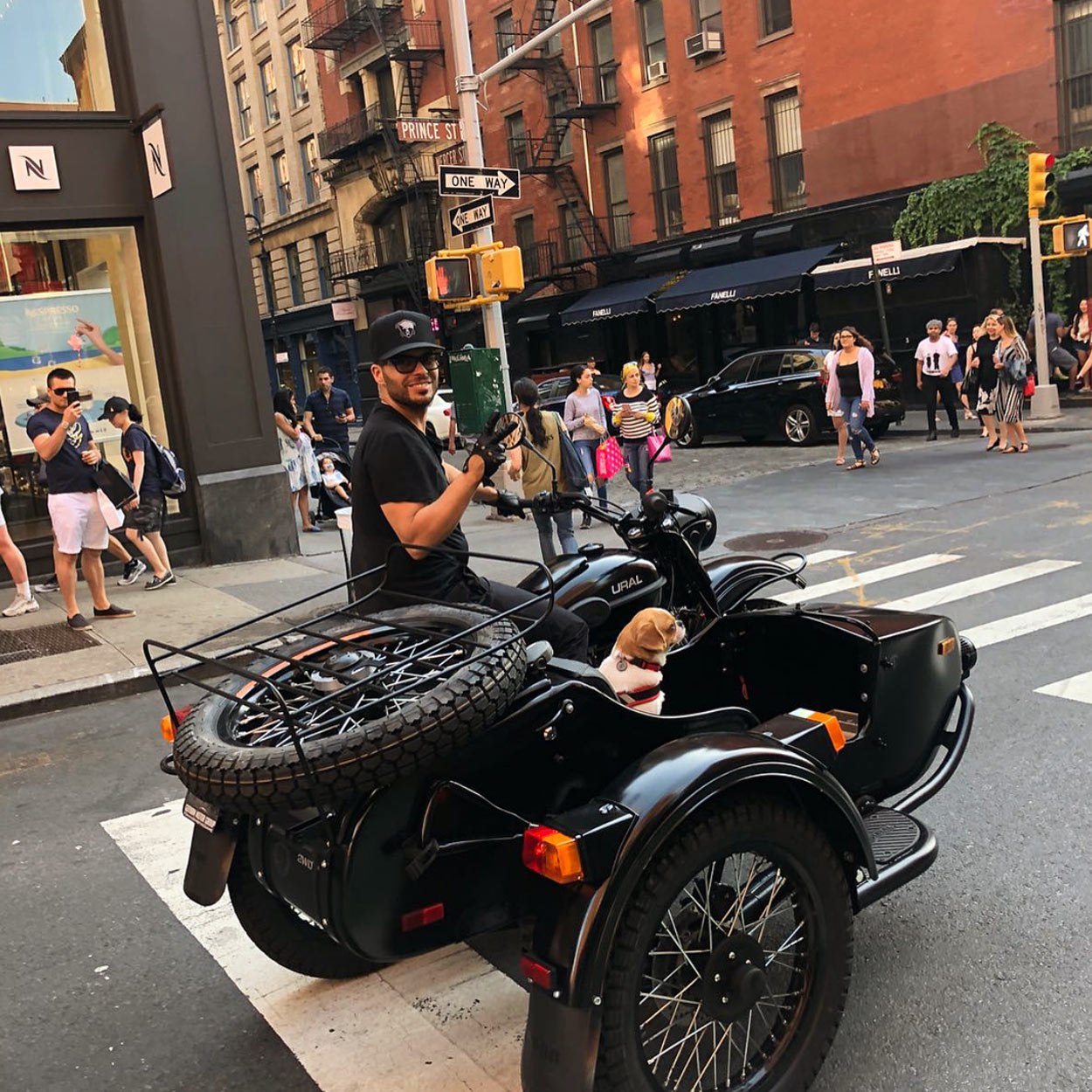 Manhattan's dog about town, Baely, being chauffered by  @Richie_Akiva .
