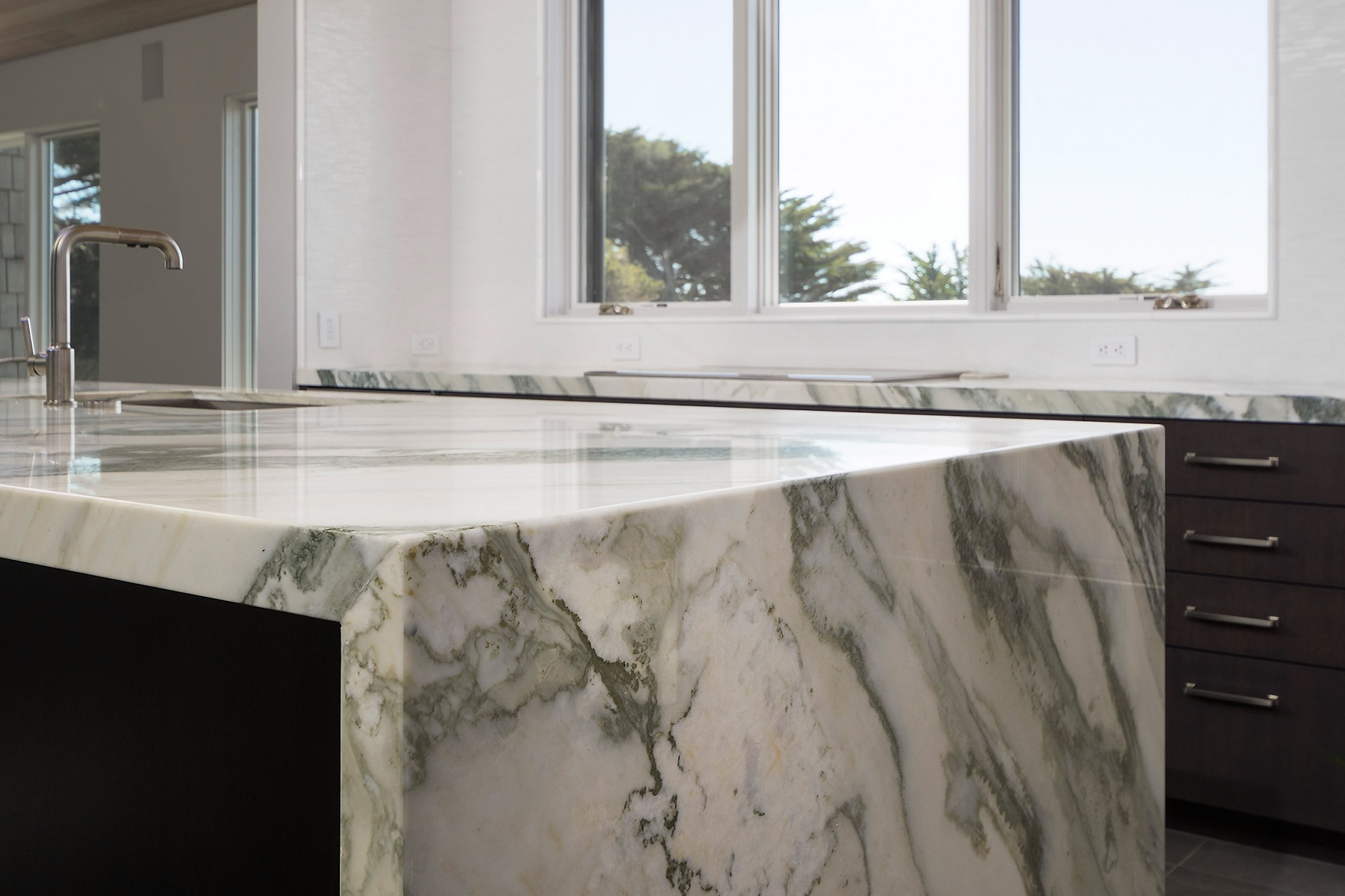 Waterfall Edge Custom Marble Countertop