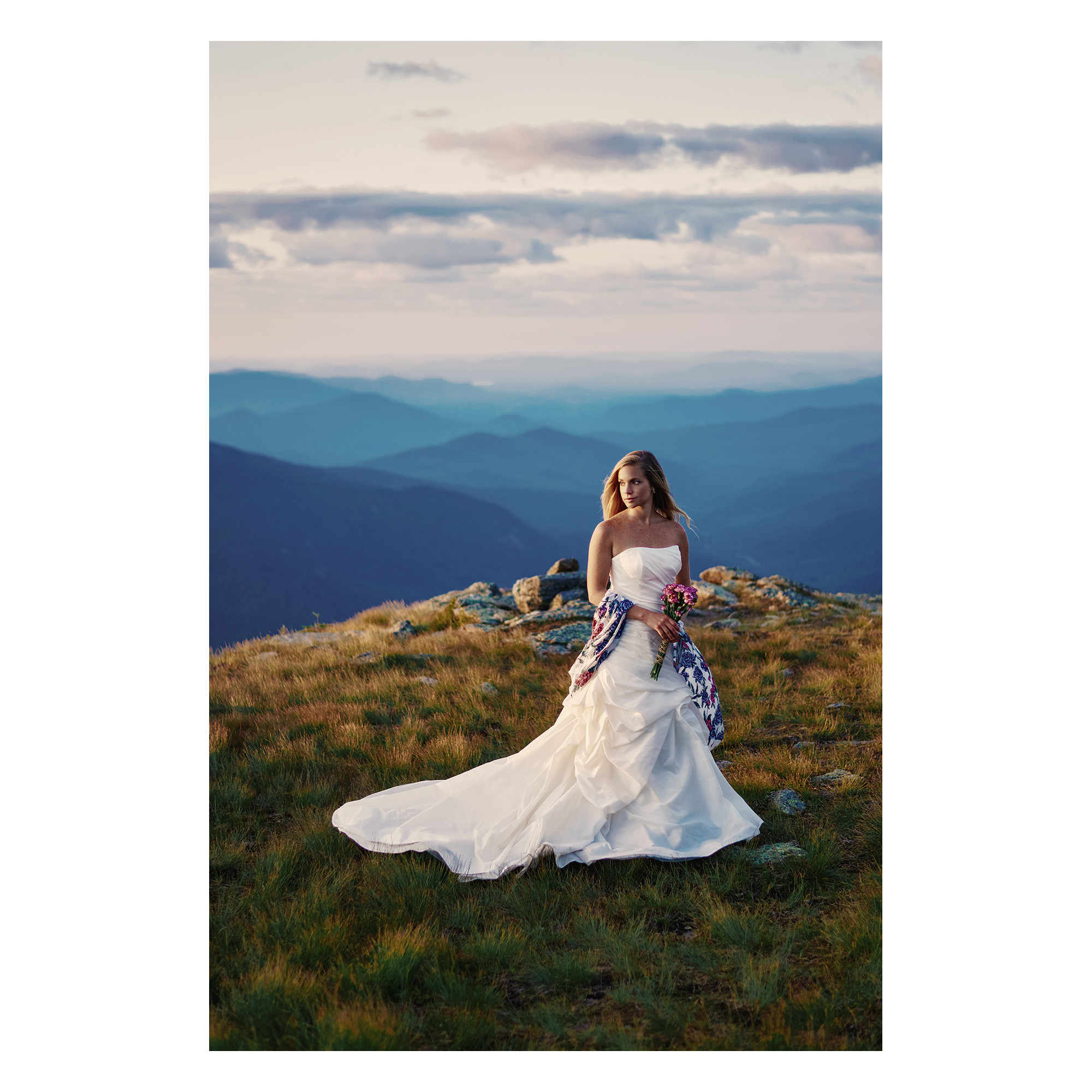 Bridal photo shoot with Emily on Mount Washington in New Hampshire at sunrise