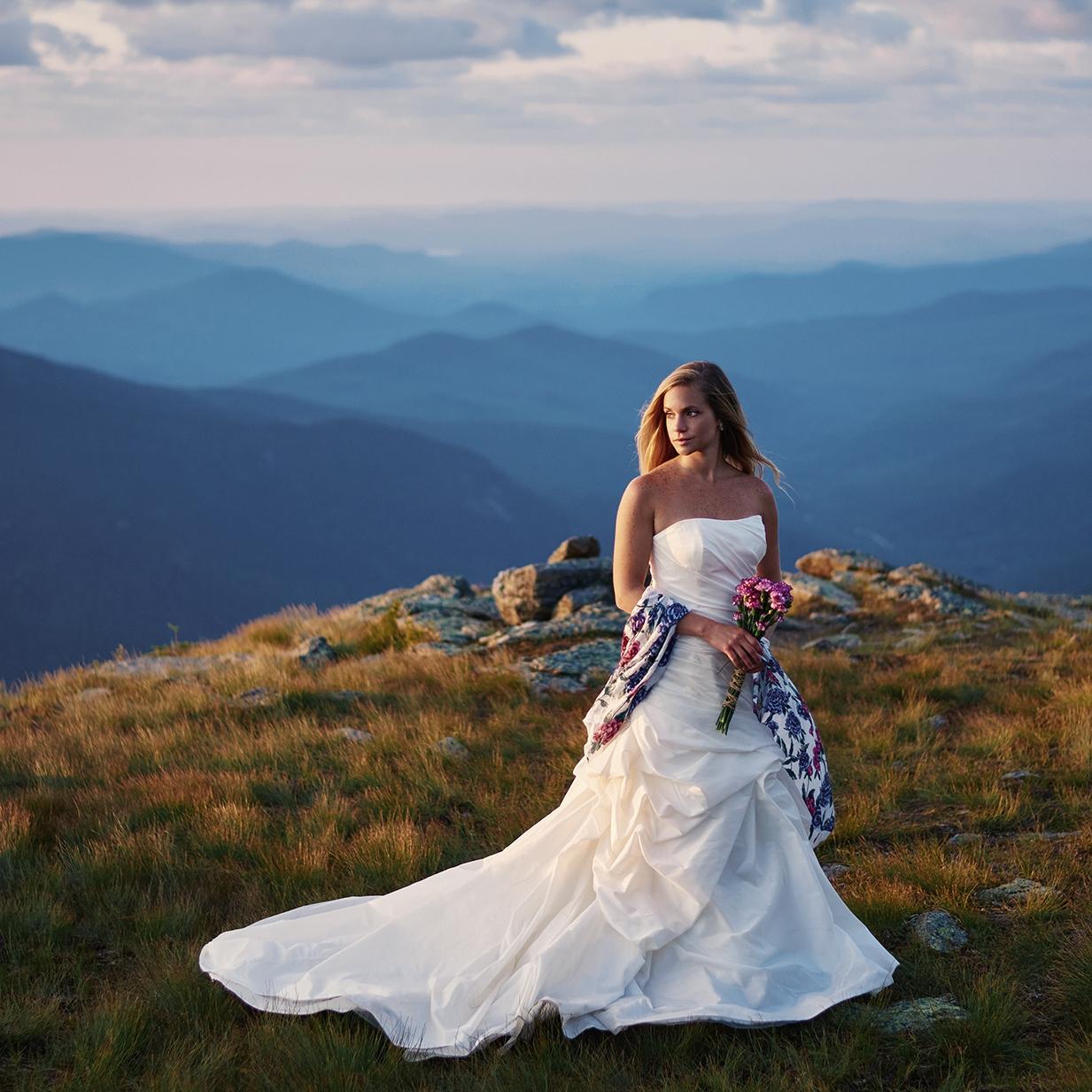 Bridal photo shoot with Emily on Mount Washington in New Hampshire at sunrise