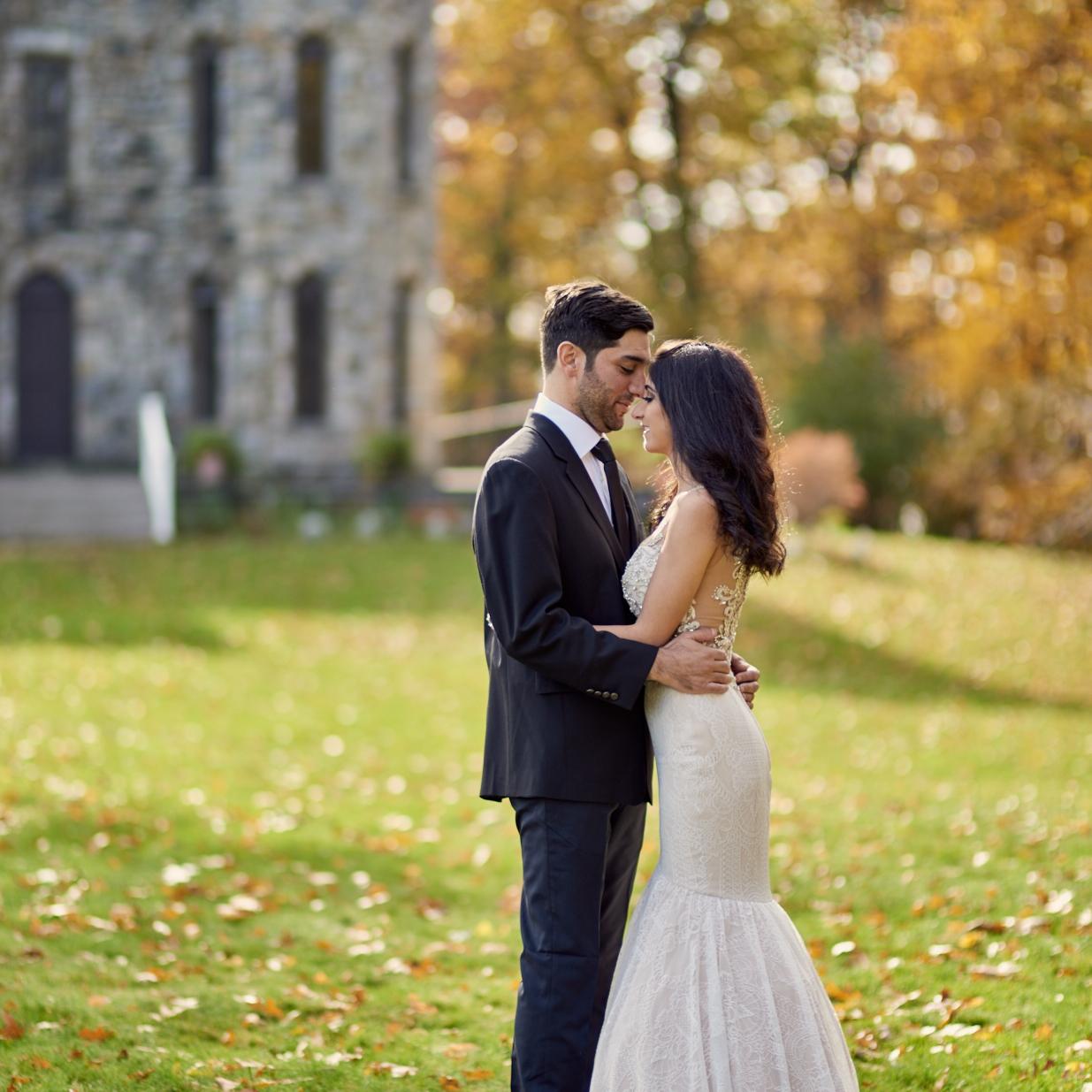 Kristin and Chris's Fall Post Wedding Photo session at Winnekenni Castle in Haverhill, Massachusetts