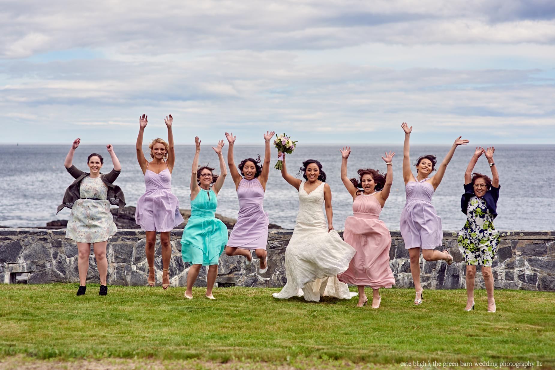 Bridesmaids fun photo ideas dream destination wedding Maine