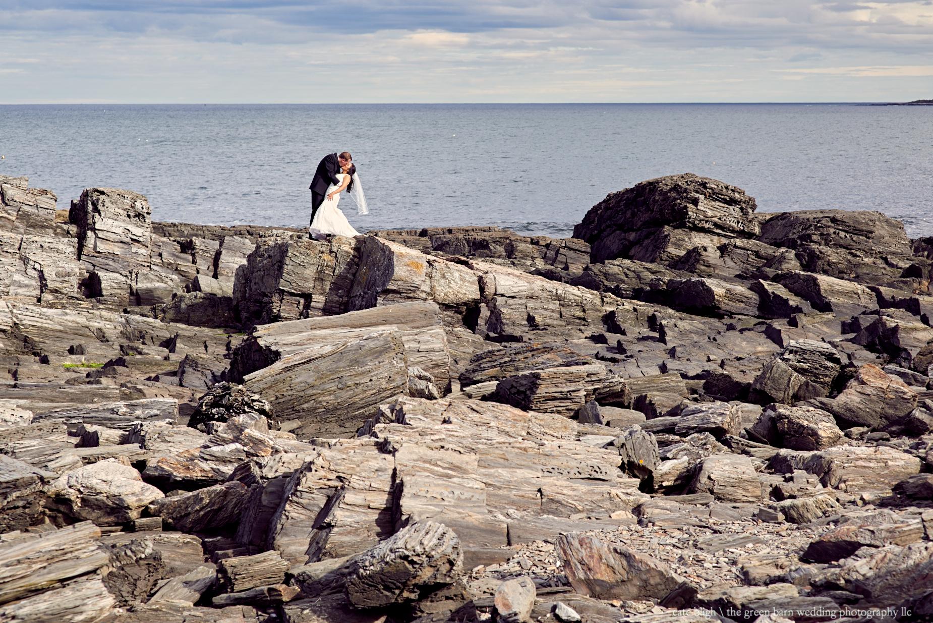 Rocky coastal wedding portrait bride and groom amazing photography