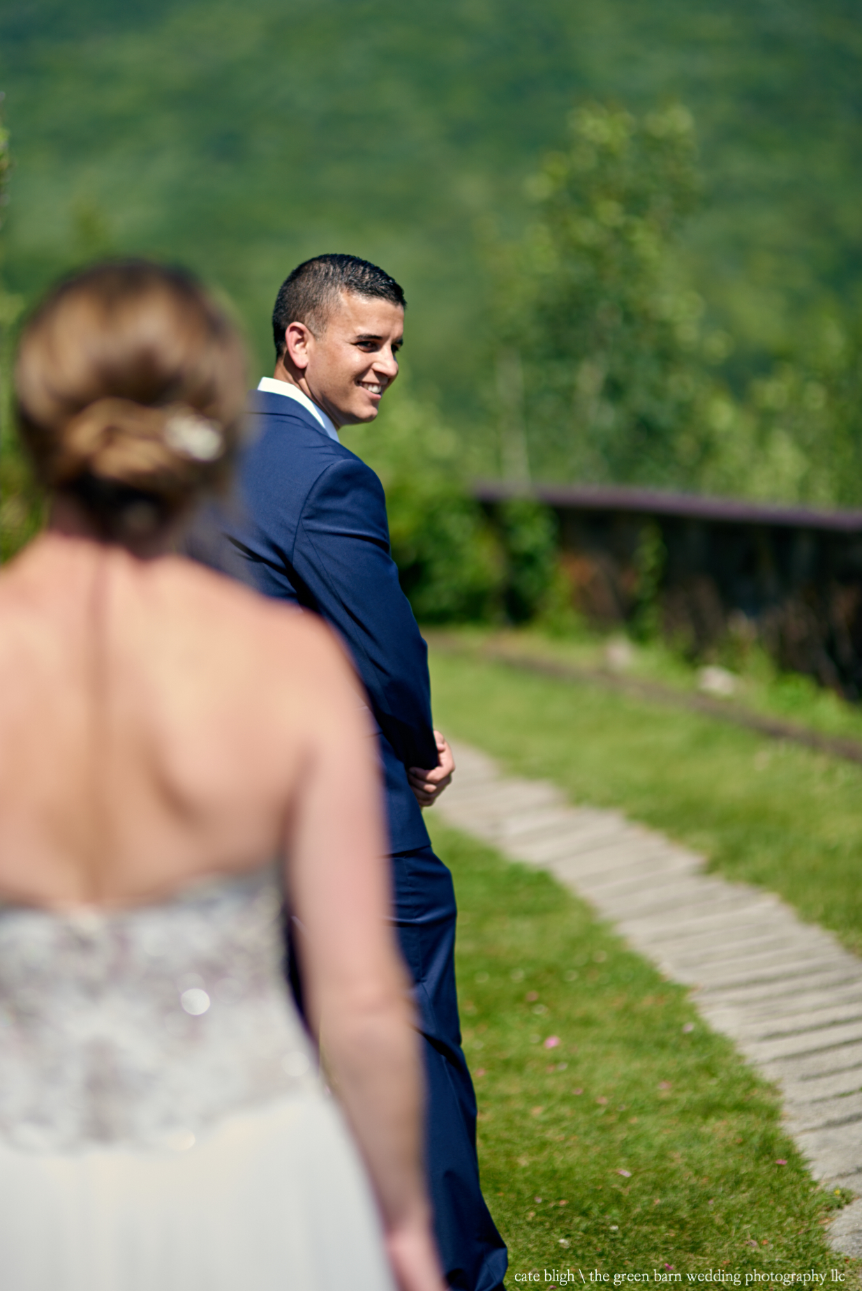 New Hampshire wedding First Look, bride and groom
