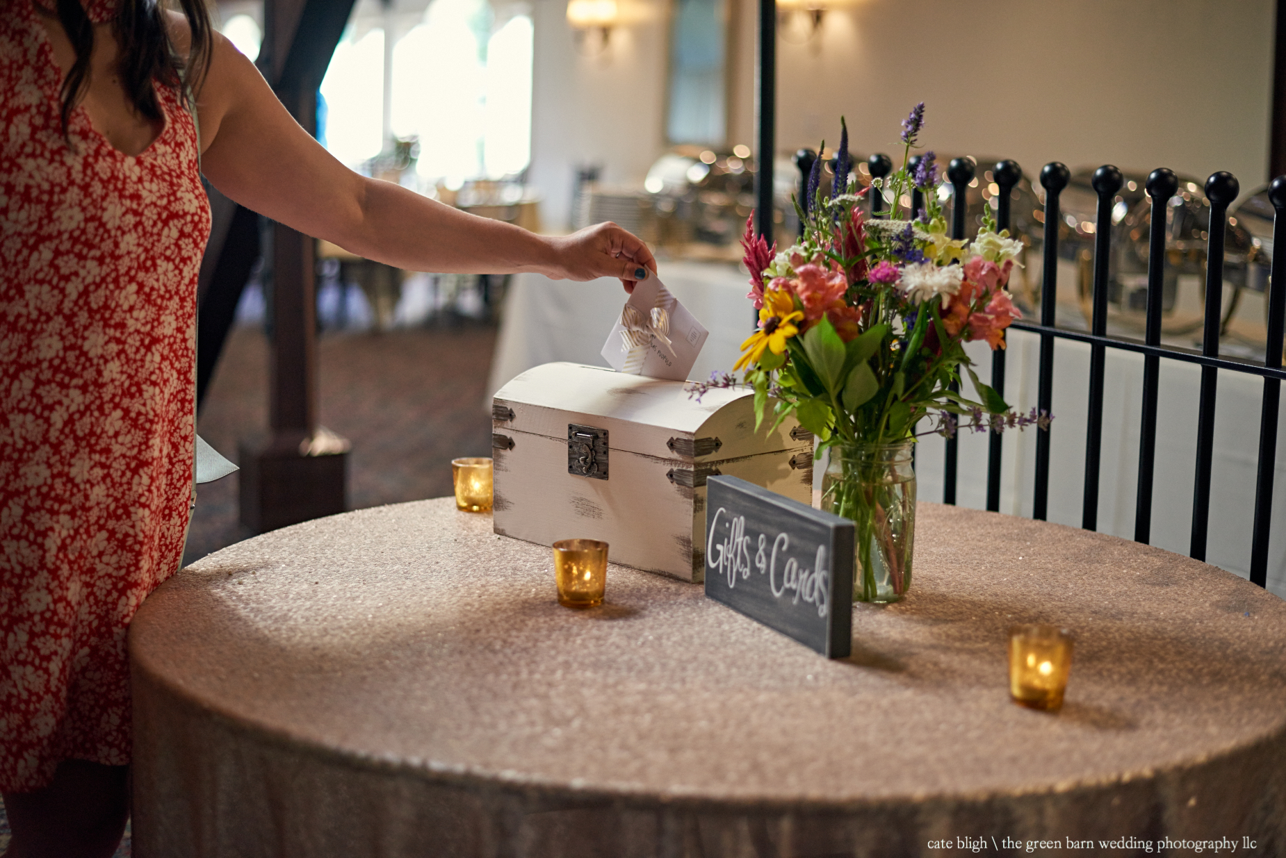 Card table at a rustic wedding in NH Castle in the Clouds