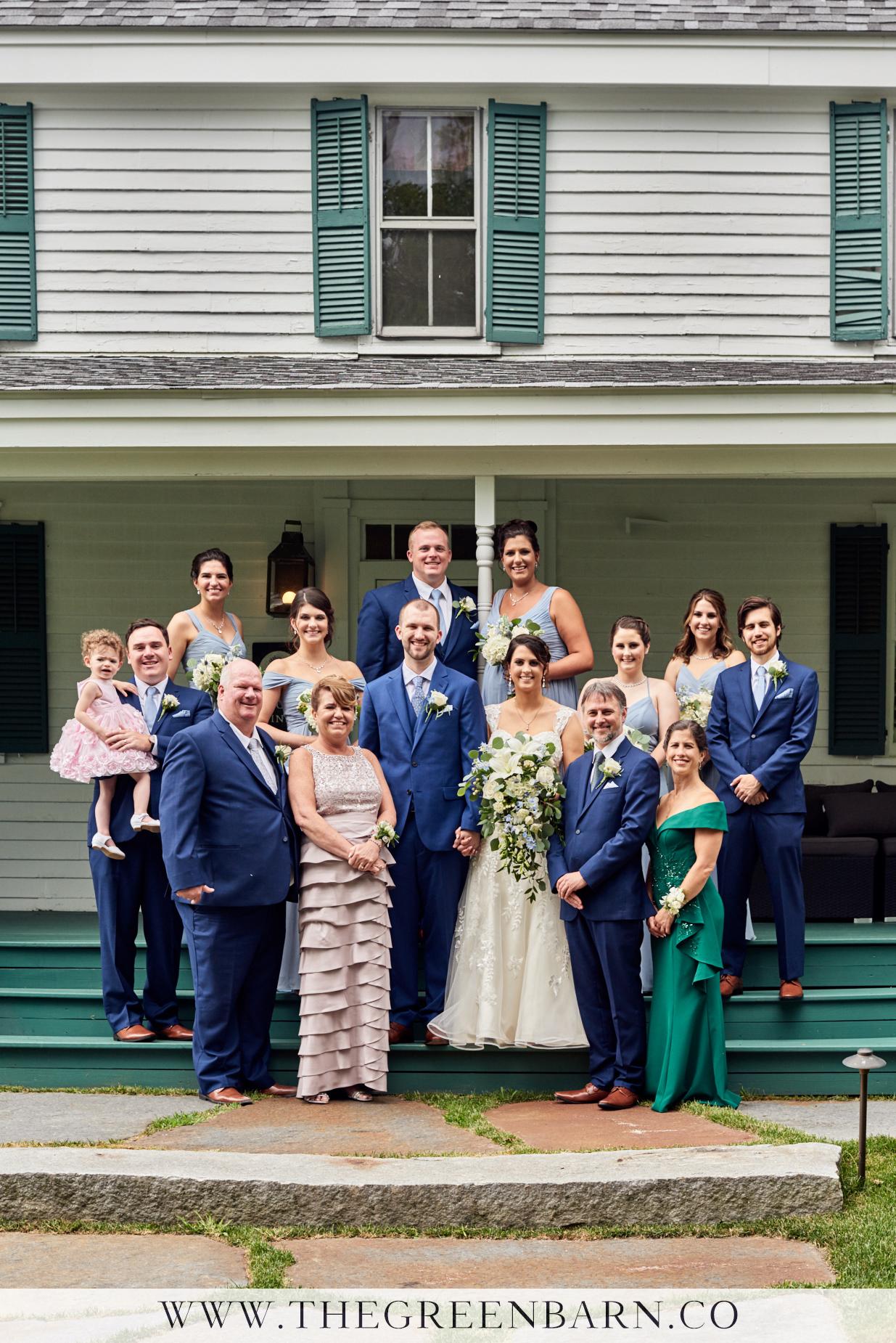 Family Portrait at a Farmhouse Wedding at Harrington Farm Photo by Cate Bligh of The Green Barn Wedding Photography LLC