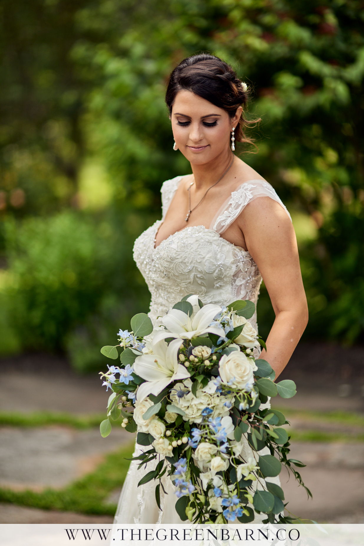 Bride Bridal Portrait with Blue and White Bouquet at Harrington Farm Photo by Cate Bligh of The Green Barn Wedding Photography LLC