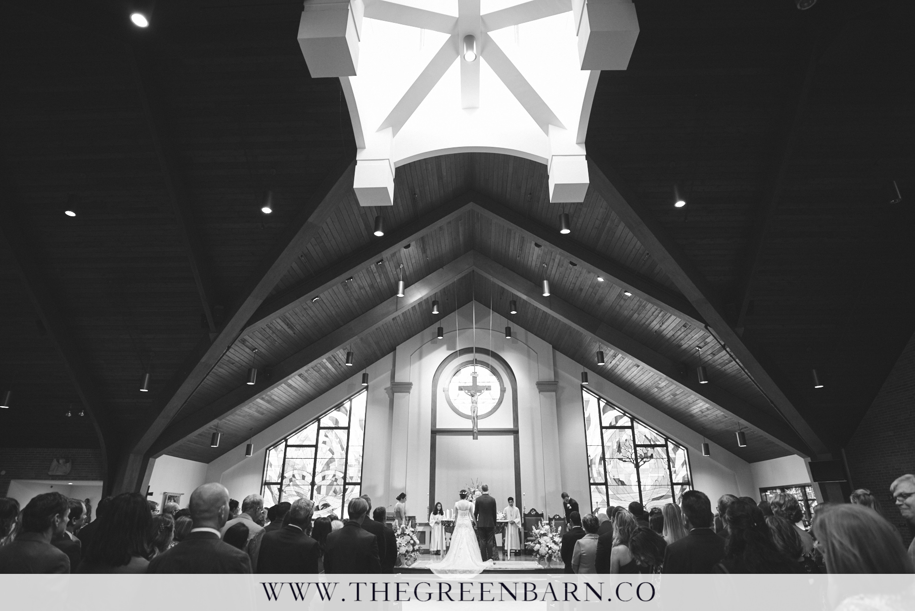 Black and White Church Wedding Ceremony at St Rose of Lima Parish Photo by Cate Bligh of The Green Barn Wedding Photography LLC