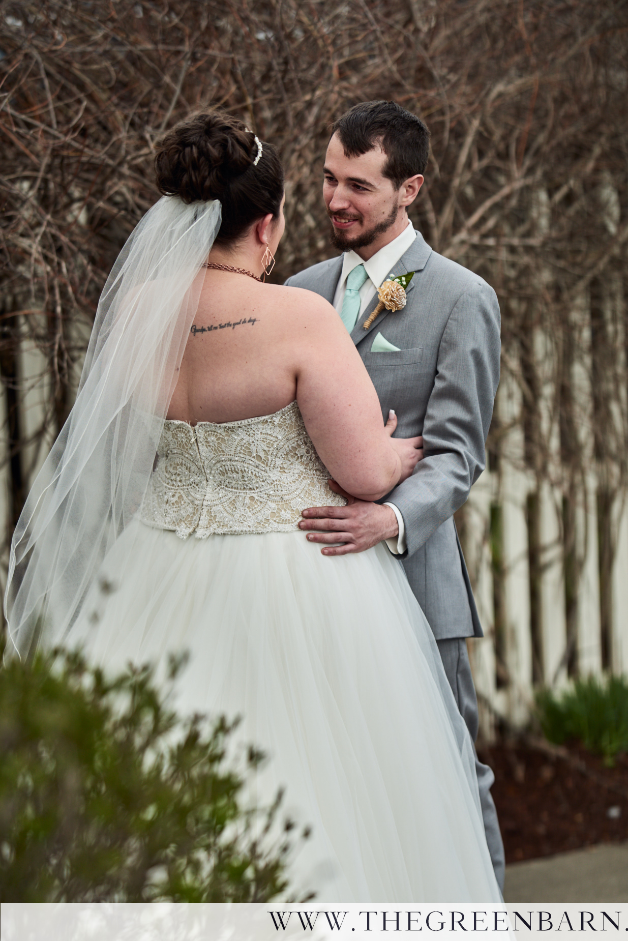 Bride and Groom First Look in the Garden at Catamount Country Club in Williston VT