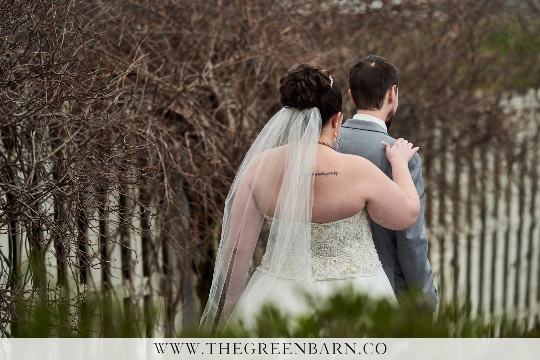 Bride and Groom First Look Outside in the Garden at Catamount Country Club in Williston Vermont