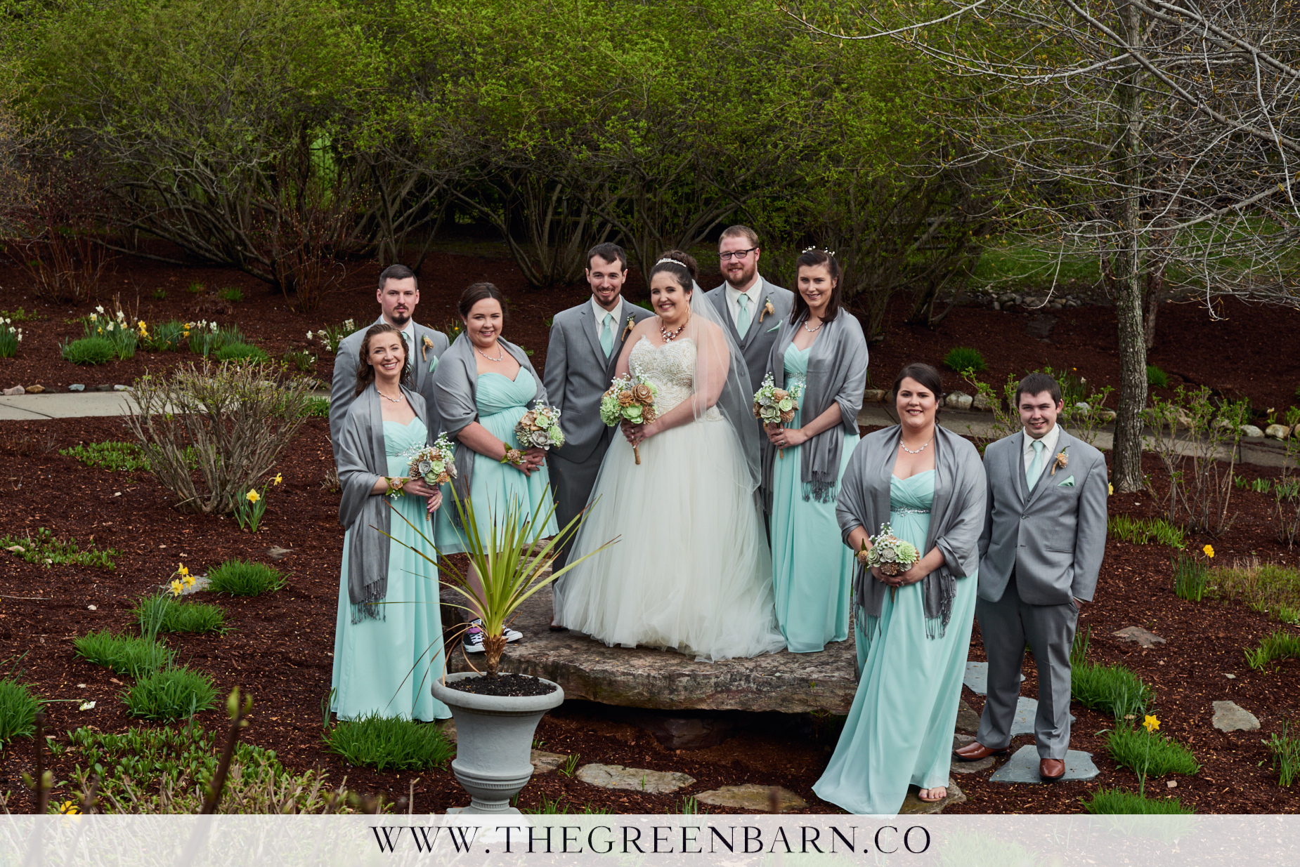 Wedding Party Photo with Grey and Sea Foam Green Wedding Color Palette for a May Wedding in Vermont