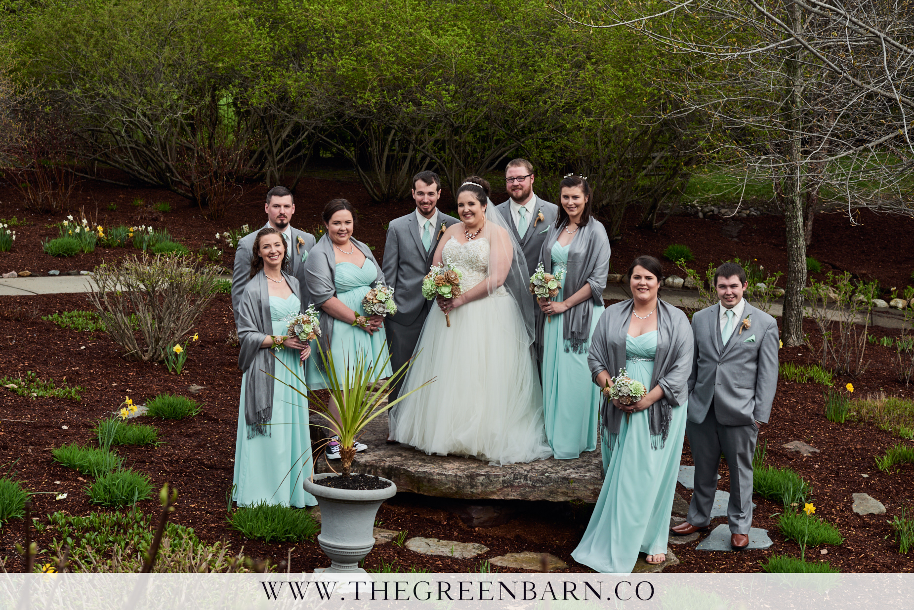 Bridal Party Photo in the Garden Ceremony Space at Catamount Country Club in Williston Vermont
