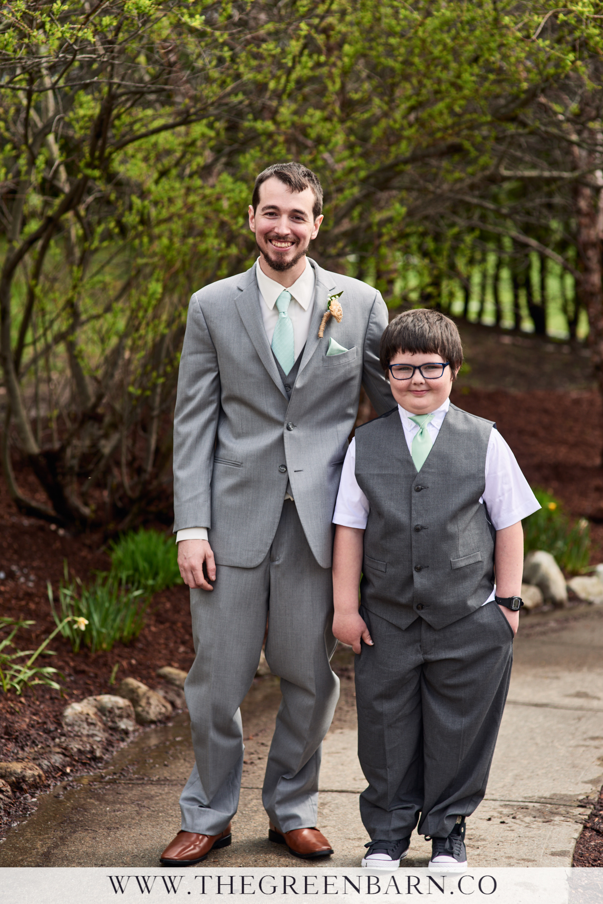 Groom and Ringbearer Photo in Grey Suits with Sea Foam Green Ties