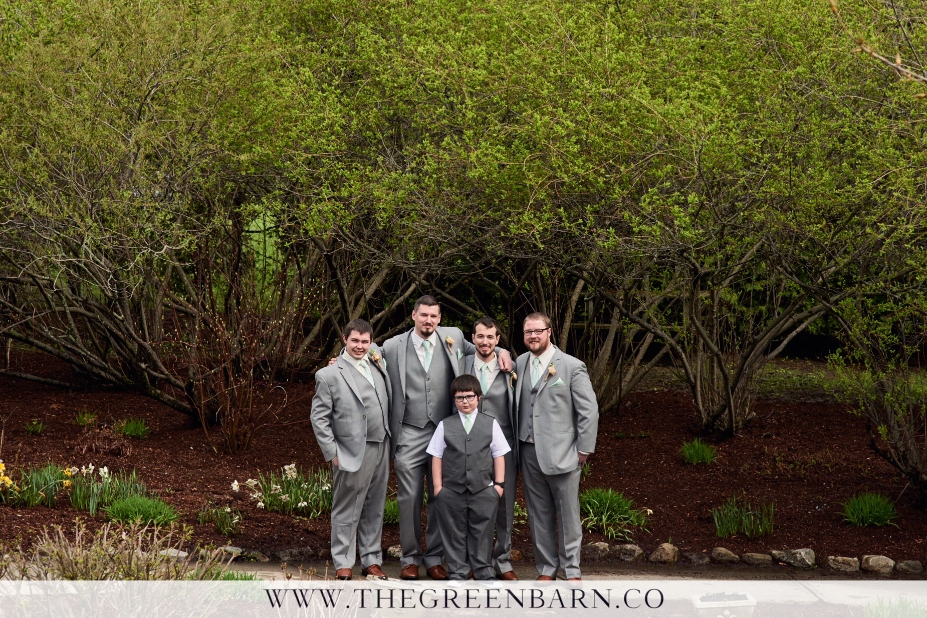Groom with Groomsmen and Ring Bearer in Grey Suits with Sea Foam Green Tie and Pocket Square