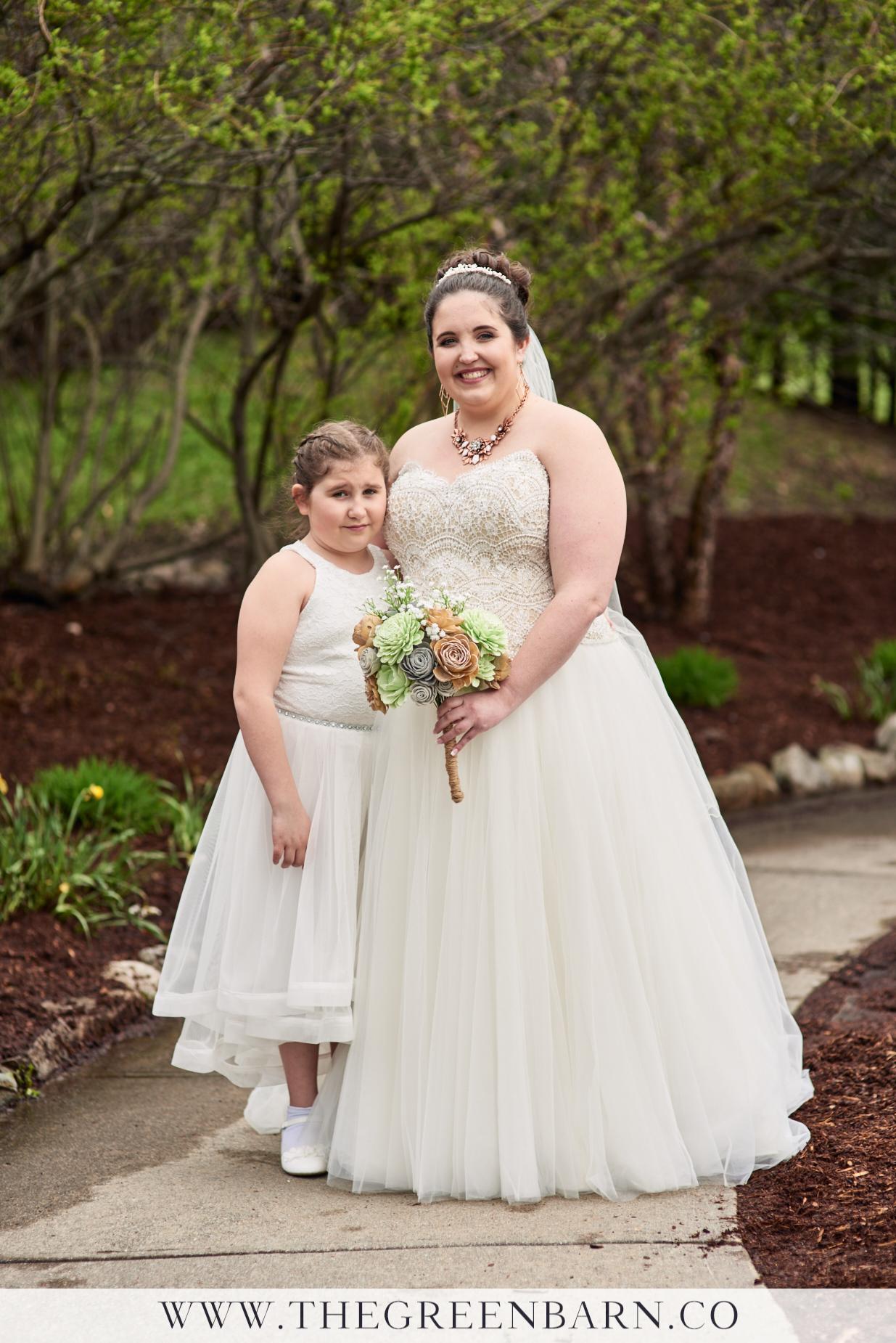 Bride with Flower Girl Photo at a Spring Garden Wedding in Williston VT