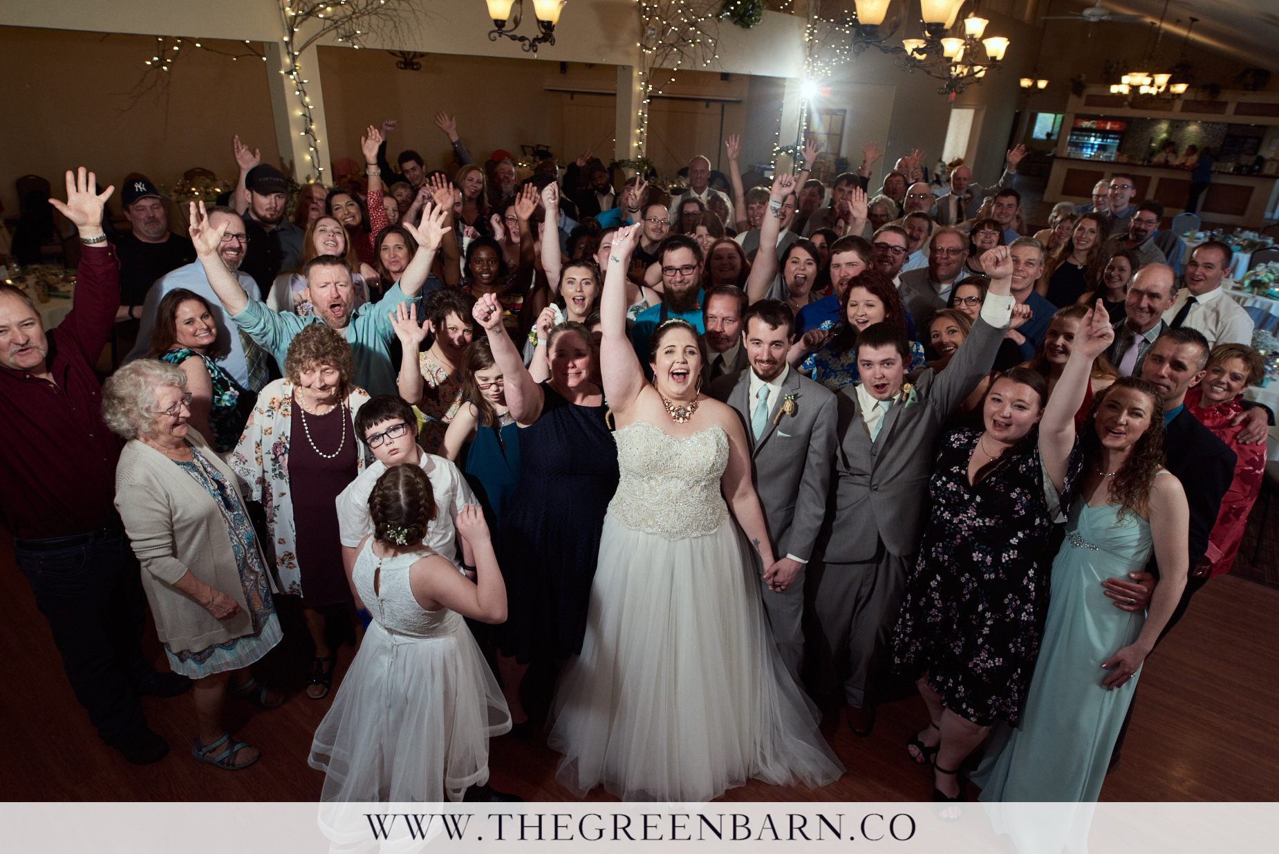 All Guests Group Photo on the Dance Floor at Catamount Country Club a Wedding Venue Near Burlington Vermont