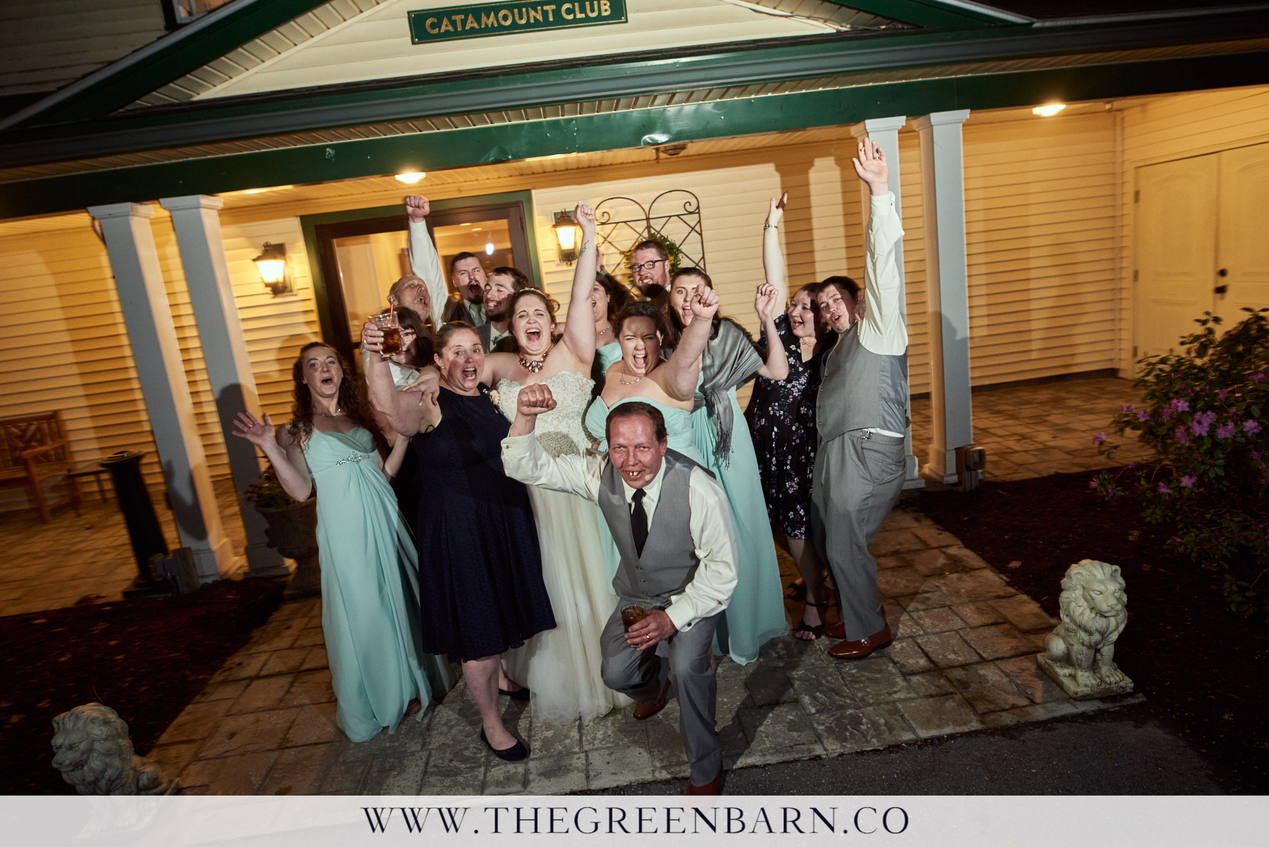 Wedding Party Bridal Party Fun Photo at the End of the Night of a Spring Wedding in Northern Vermont