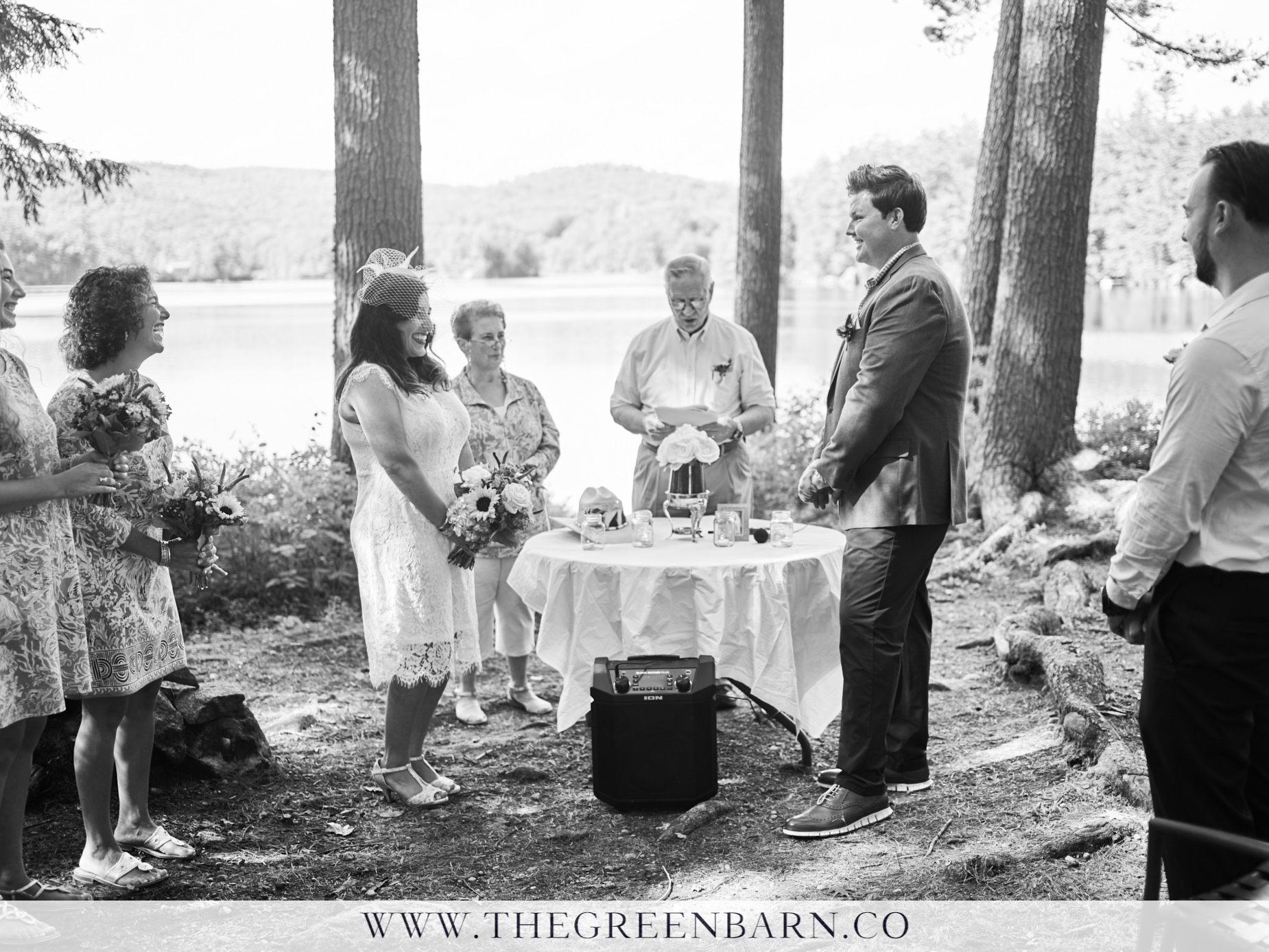 Bride and Groom Getting Married in an Intimate Private Wedding Ceremony in the Woods | NH Wedding Photographer