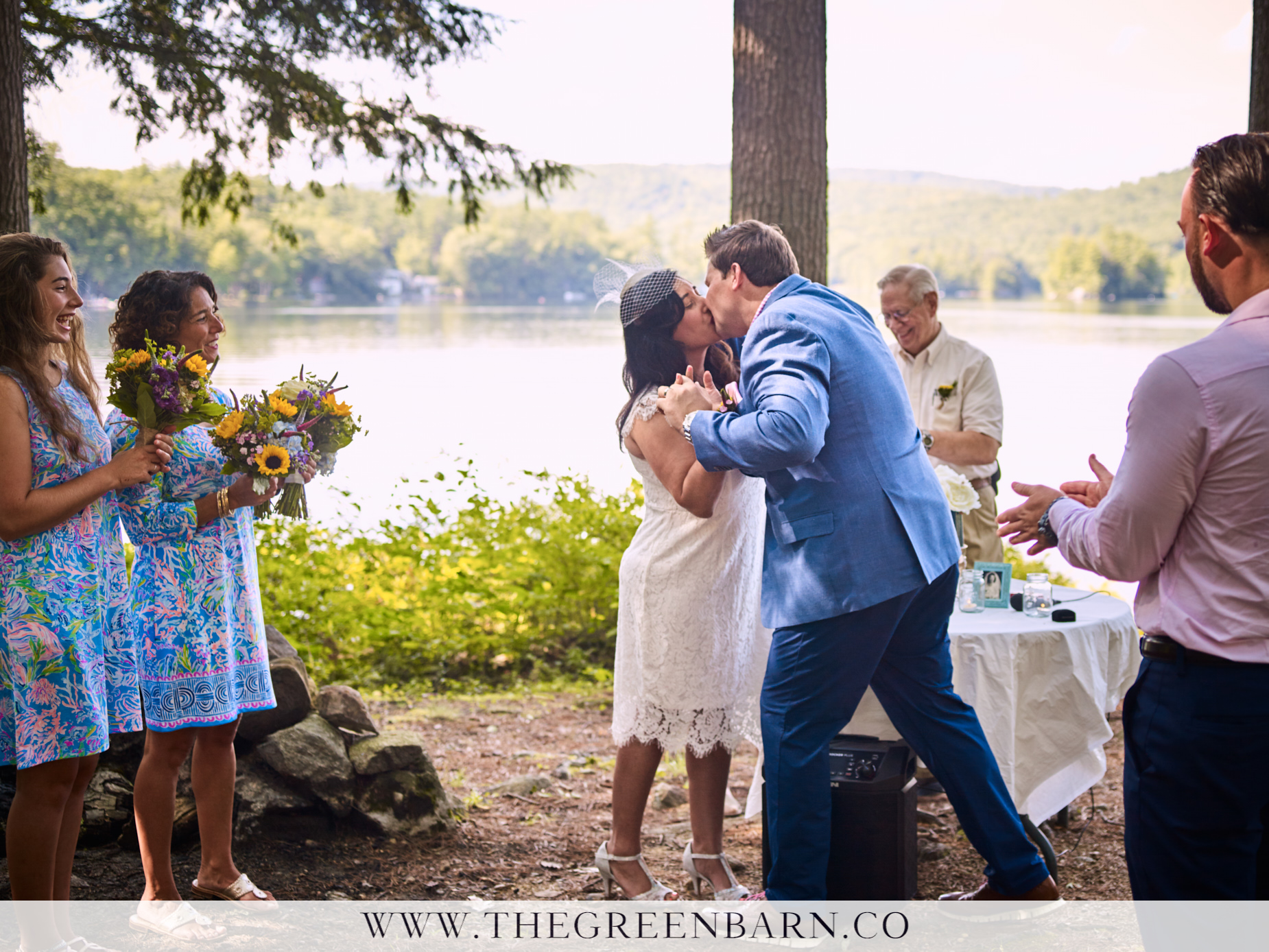 Non-Traditional Wedding Ceremony First Kiss Picture | NH Wedding Photographer