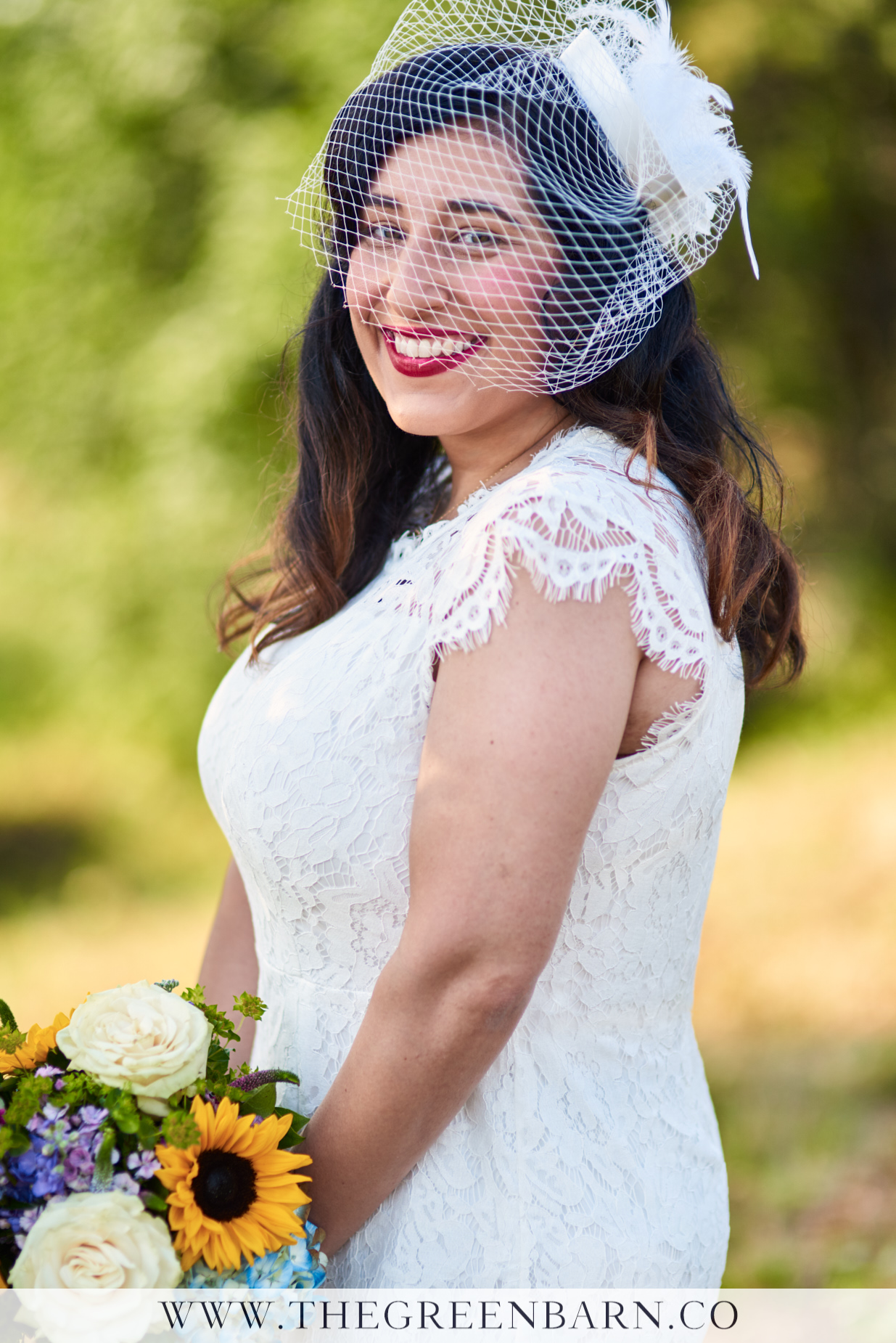 Bridal Portrait of Bride with Lace Dress and Birdcage Veil Vintage Inspired | NH Wedding Photographer