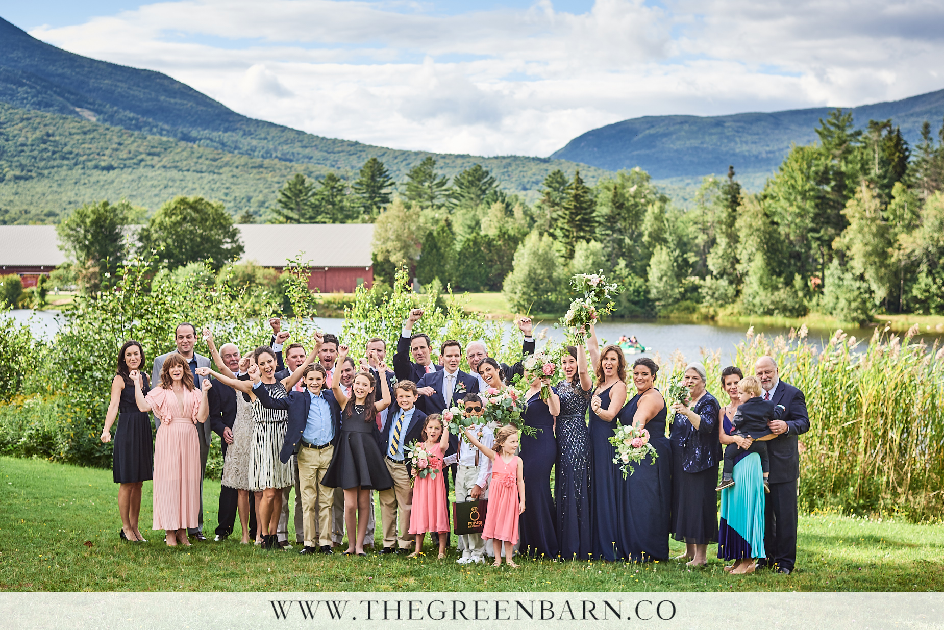 Big Group Wedding Photo at Osceola Arbor in Waterville Valley | NH Wedding Photographer