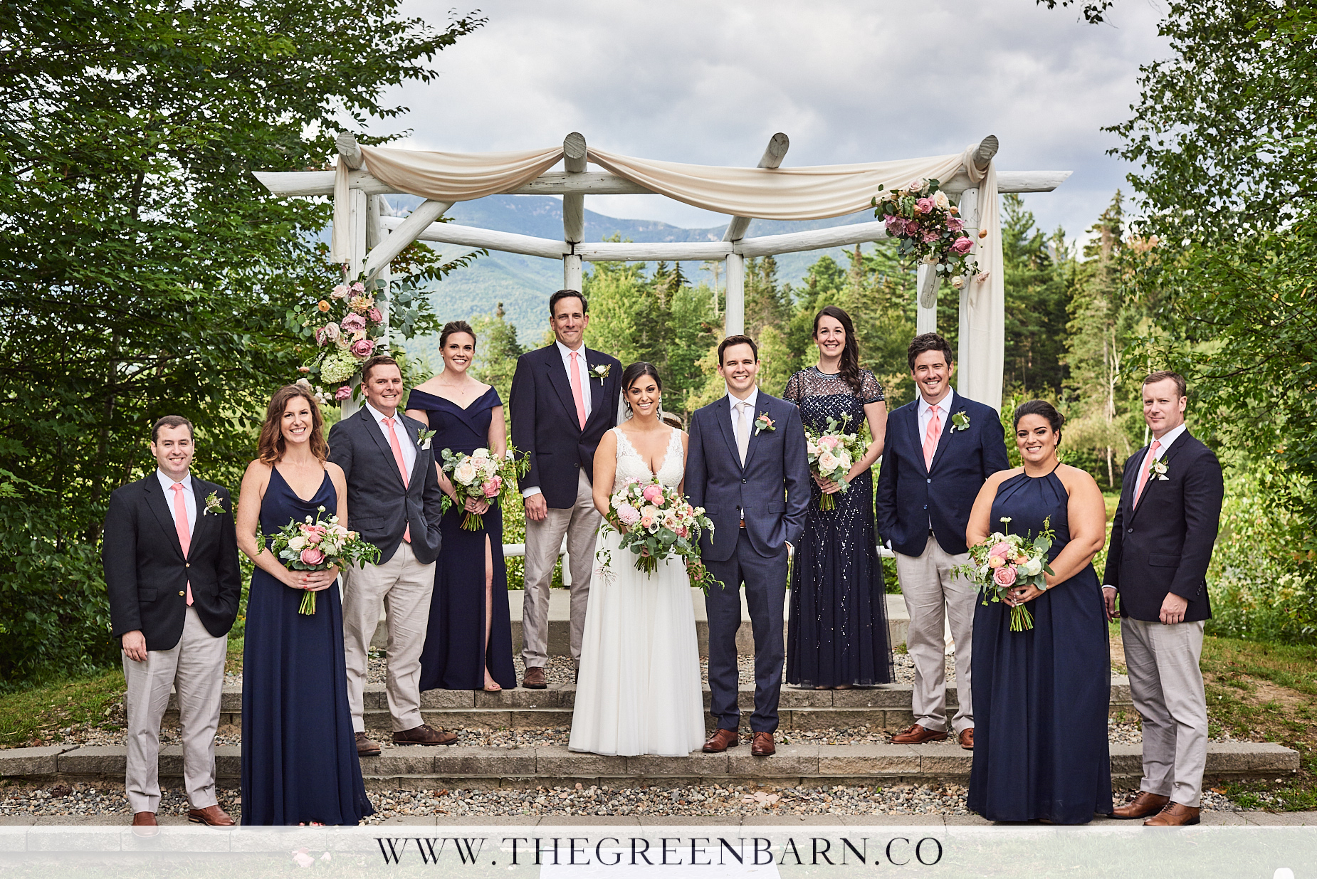 Navy Blue Wedding Party at the Osceola Arbor in Waterville Valley | NH Wedding Photographer