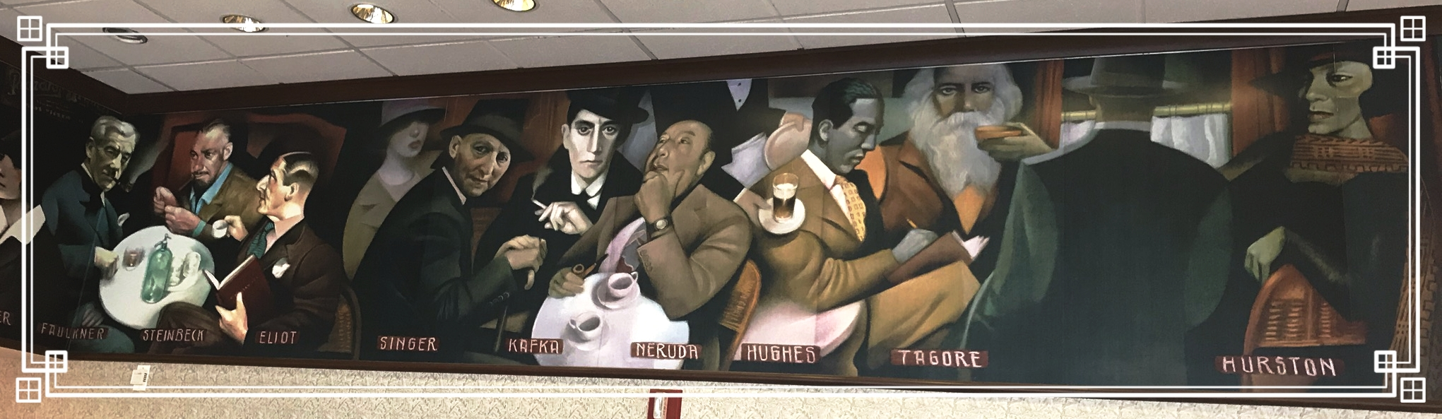 Mural in Barnes & Noble's cafe...who is the man on the right in the suit jacket and fedora?...