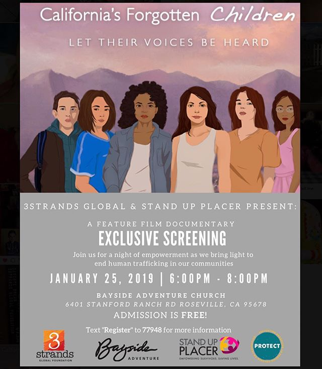 "PLEASE HELP US by reposting and spreading the word about this FREE event happening THIS Friday 1/25 from 6-8 PM at @baysideadventure !! Spreading awareness around #HumanTrafficking in our community TAKES a community! . . We will be co-hosting with @standupplacer to screen the film ""California's Forgotten Children"" following a panel. PLEASE JOIN US!! . . TEXT: 'Register' to 77948 for details. . . . . #3SGF #CaliforniaForgottenChildren #EndTrafficking #StandUpPlacer #PROTECTnow #Bayside #Sacramento #ThePeopleOfSacramento #HumanTraffickingAwareness #Roseville #Rocklin #Folsom #GraniteBay #WomenofSacramento #BaysideAdventure #BaysideMidtown #BaysideGraniteBay #RosevilleGalleria #TPOS #Lincoln #Rotary #EventsinSacramento #HighSchool #MiddleSchool #FreeEvent #BaysideChurch #SpreadAwareness #FamilyEvent  @baysideadventure @bayside @baysidechurch @baysidemidtown @baysidegranitebay @baysideblueoaks @baysideofcitrusheights @baysidewomengb @3strandsglobalfoundation @thepeopleofsacramento @womenofsac @sacramento365 @sacramento_life @sacramentokings @sacpolice @sacrepublicfc @sacramento @rocklinpolice @rocklinparksrec @dutchbrosroseville @dutchbrosrocklin @dutchbrosgranitebay @dutchbrosacramento @cityofroseville @roseville_fire_department @westfieldgar @roseville_joint_uhsd @roseville_ca_police @placer_sheriff @placercounty @citrusheightspd @w.p.u.s.d"