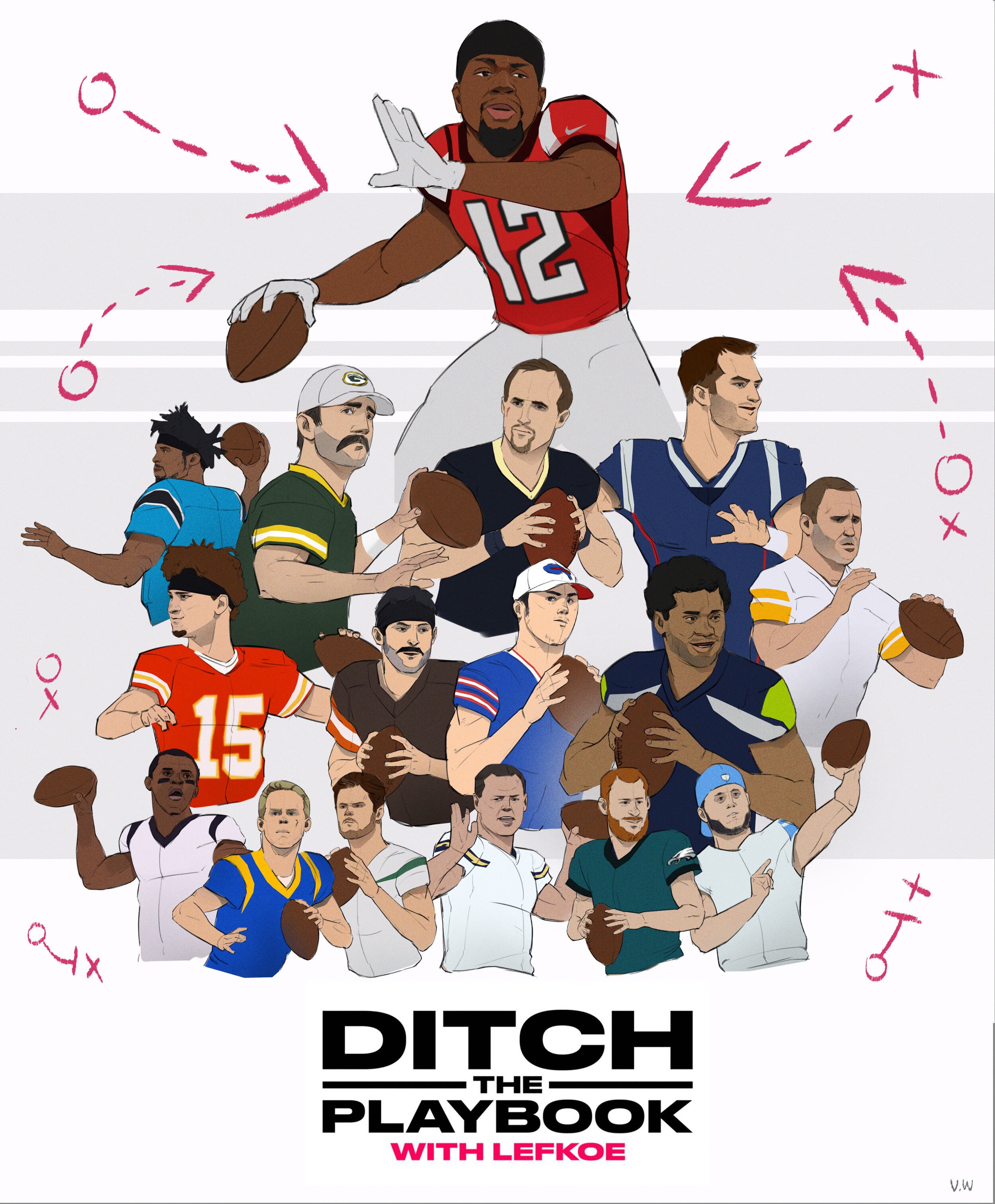 """""""Ditch the Playbook"""" episode with Atlanta Falcons Wide Receiver, Mohamed Sanu. Episode:  Falcons WR Mohamed Sanu Throws Farther Than 28 Starting NFL QBs 