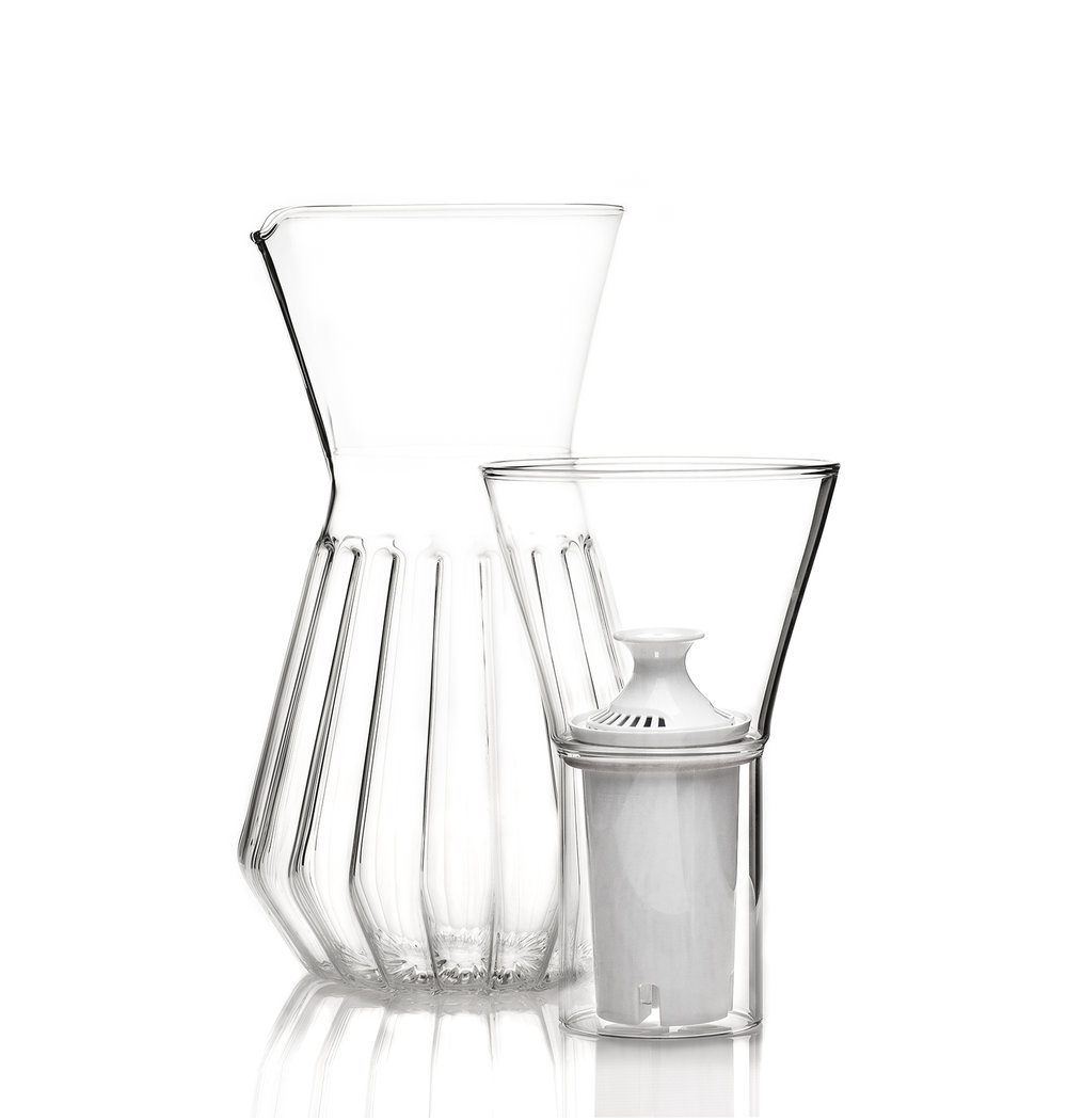 Talise Fluted Czech Glass Carafe With Water Filter Jessica Iliffe Singapore Interior Designer