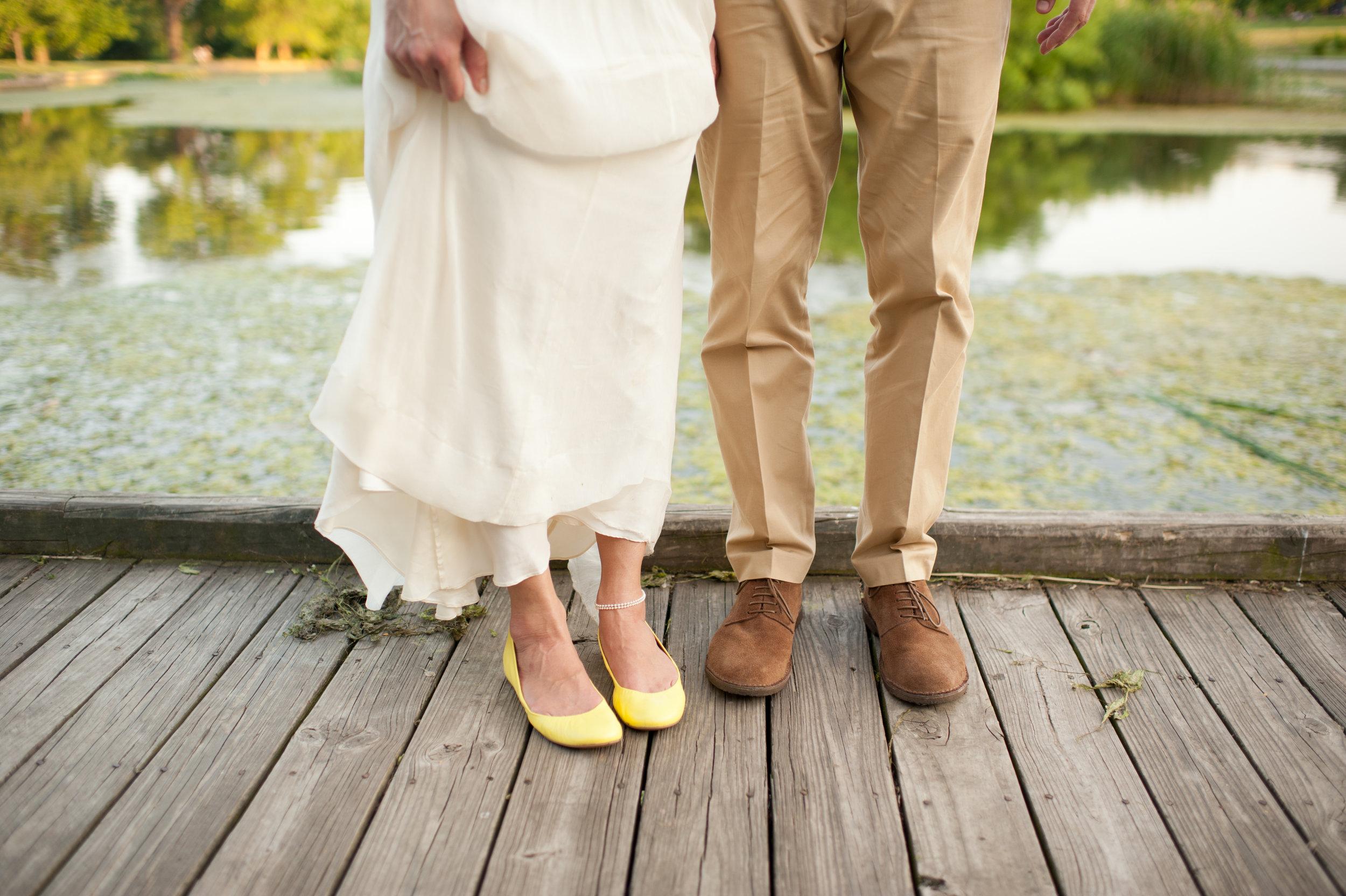 yellow flat wedding shoes