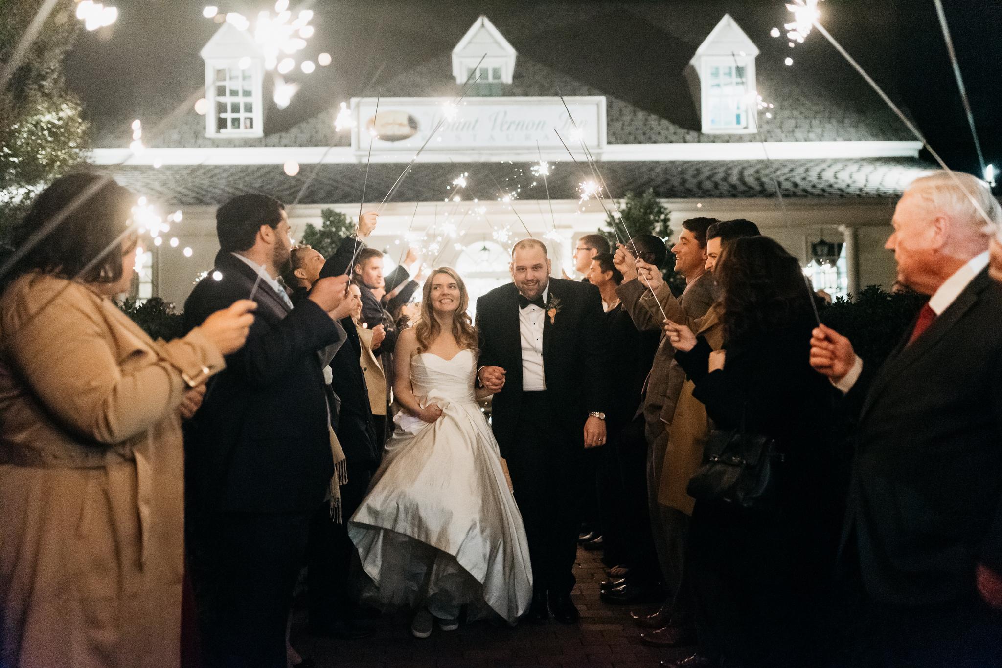 Mount Vernon Inn Wedding sparkler exit