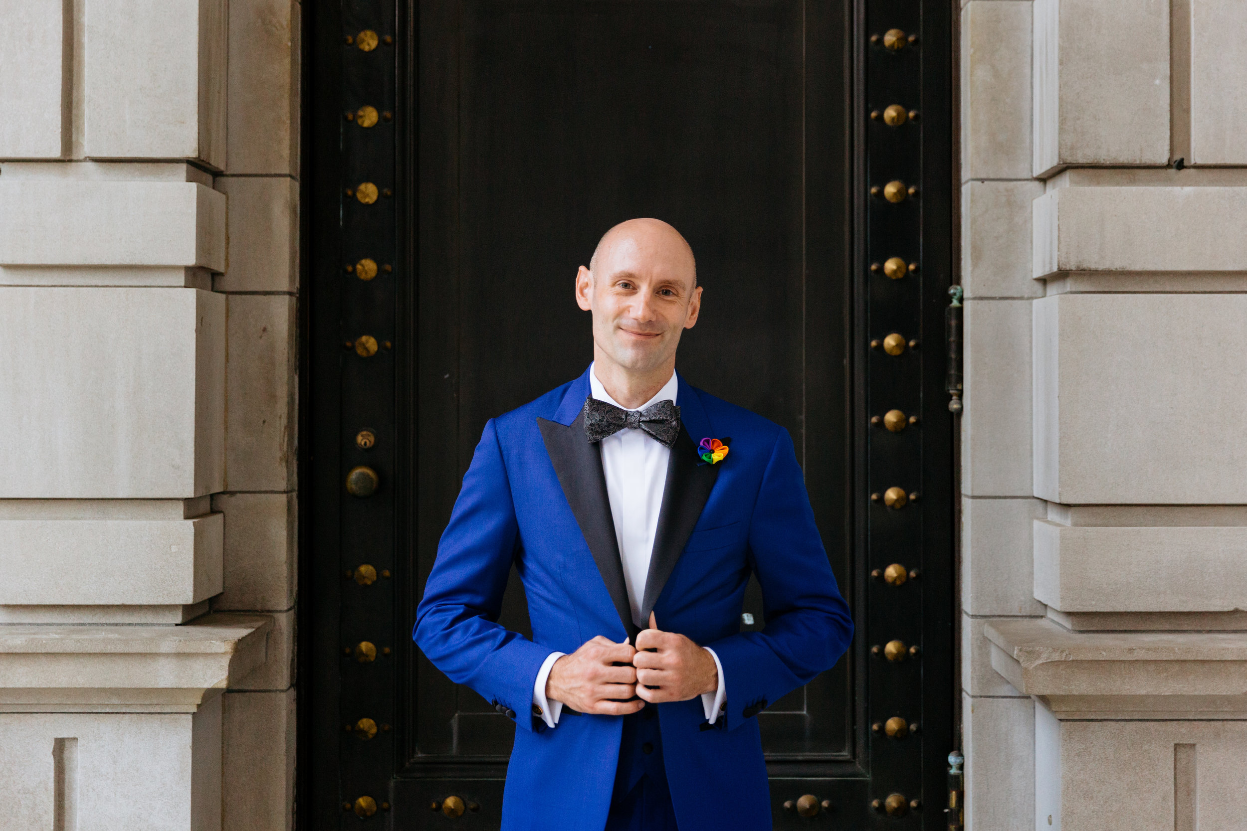 blue tux wedding