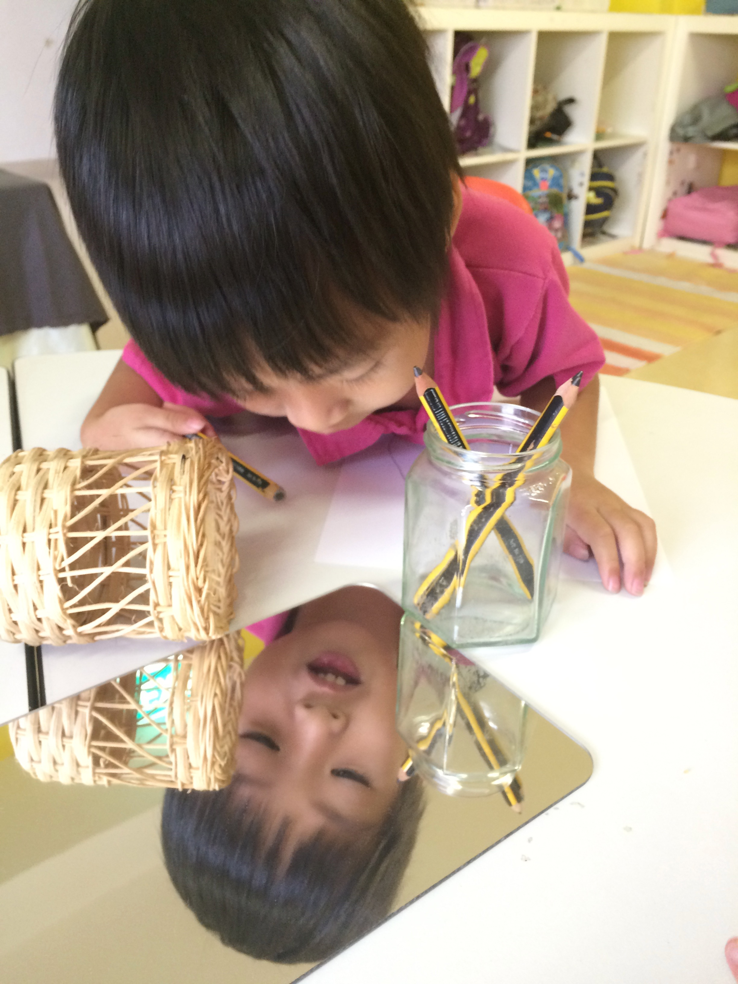 Observing personal features with a mirror