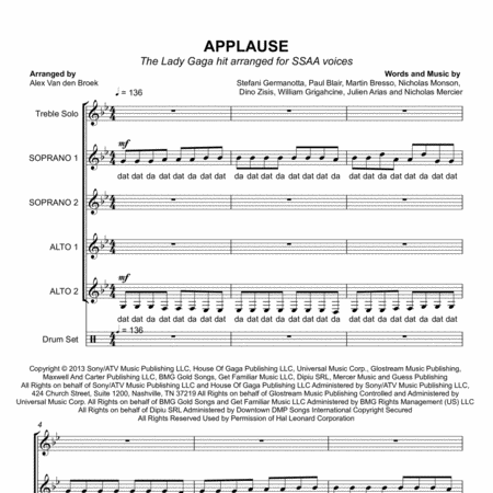 Applause (Lady Gaga) SSAA with Vocal Percussion