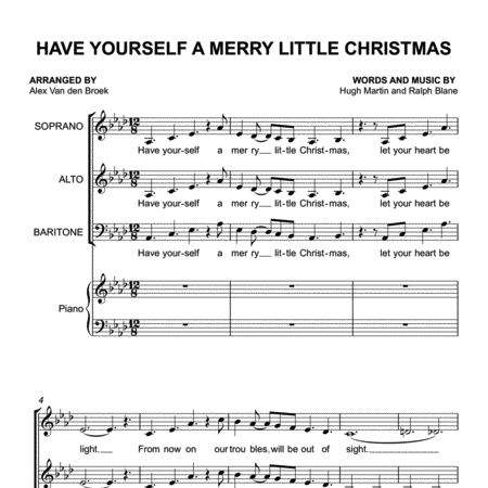 Have Yourself a Merry Little Christmas SAB with Piano Accompaniment