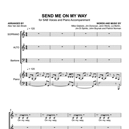 Send Me On My Way (Rusted Root) SAB with Piano Accompaniment