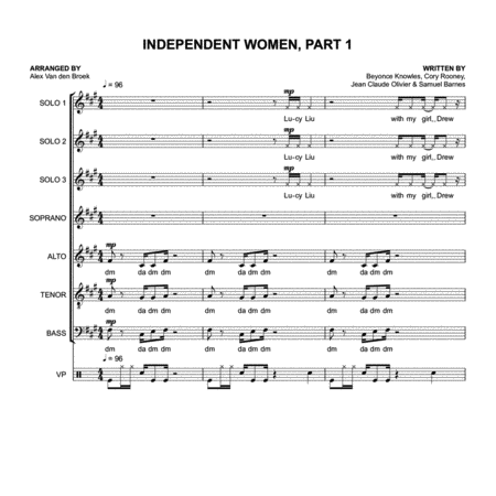 Independent Women Part I (Destiny's Child) SATB with Vocal Percussion
