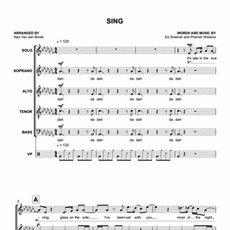 Sing (Ed Sheeran) SATB with Vocal Percussion