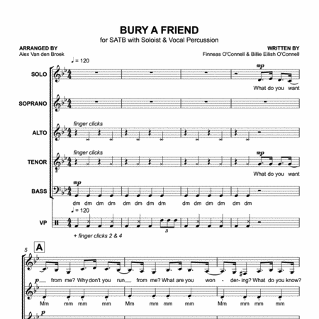 Bury a Friend (Billie Eilish) SATB with Vocal Percussion