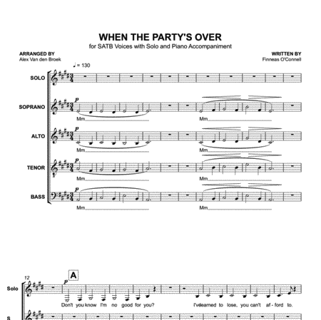 When the Party's Over (Billie Eilish) SATB